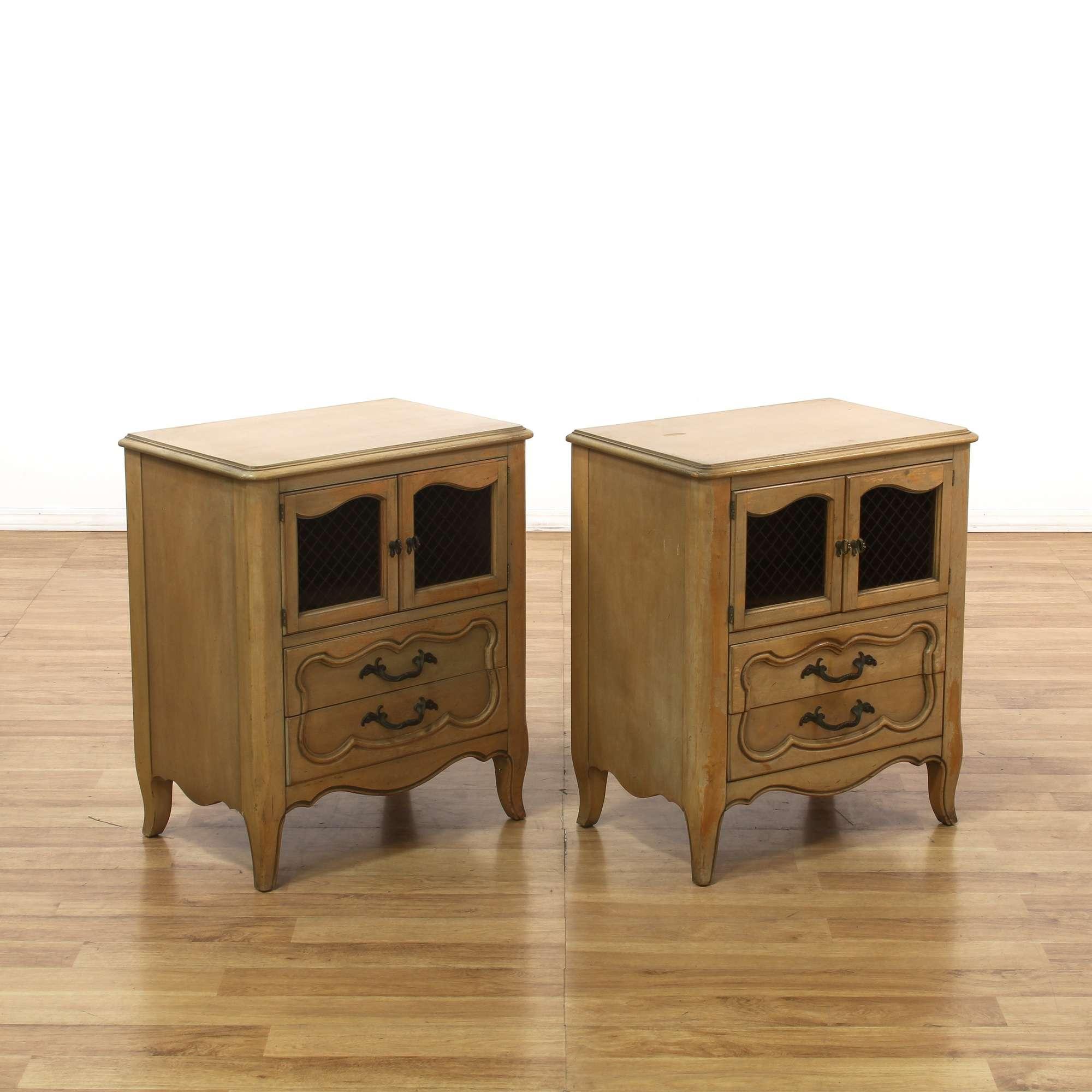 Pair Of Metz Made Bleached Wood Nightstands Loveseat Online Auctions Los Angeles