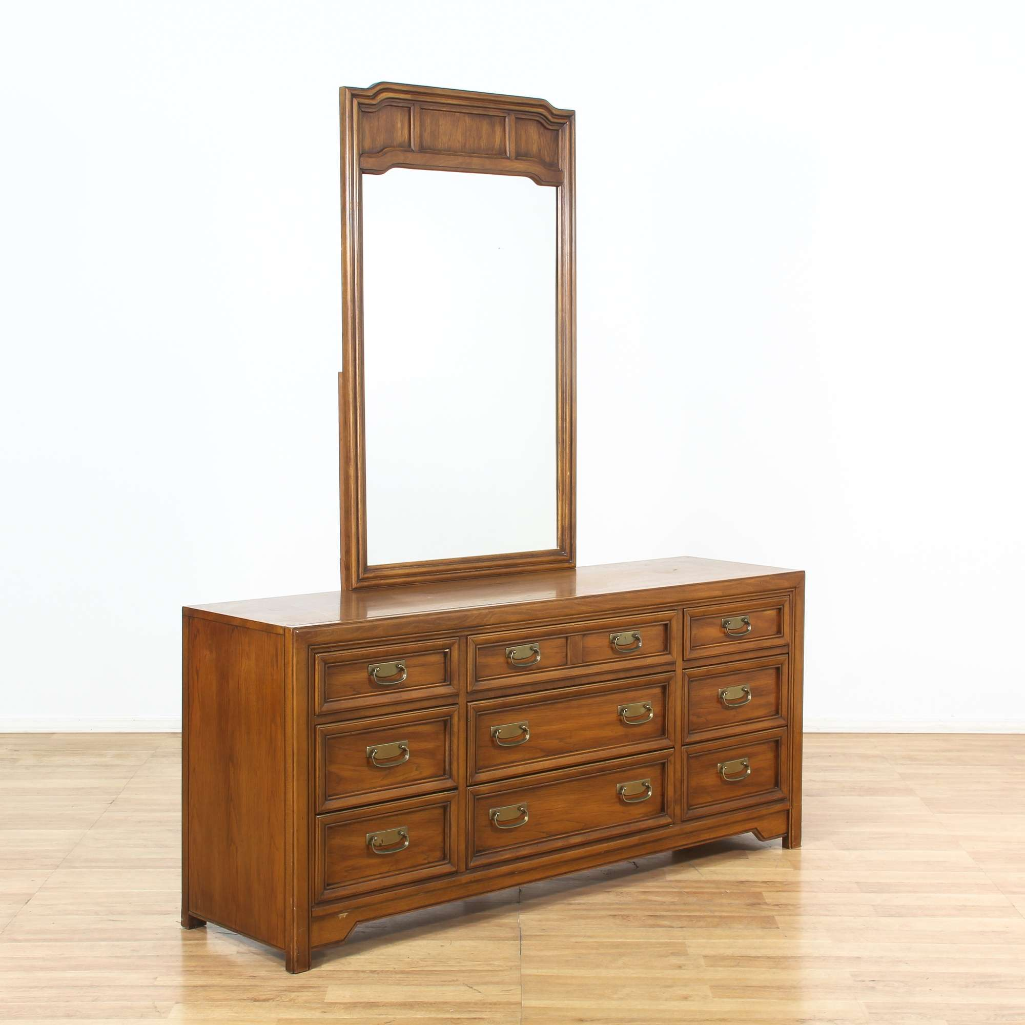 Long Dresser W Mirror 9 Drawers