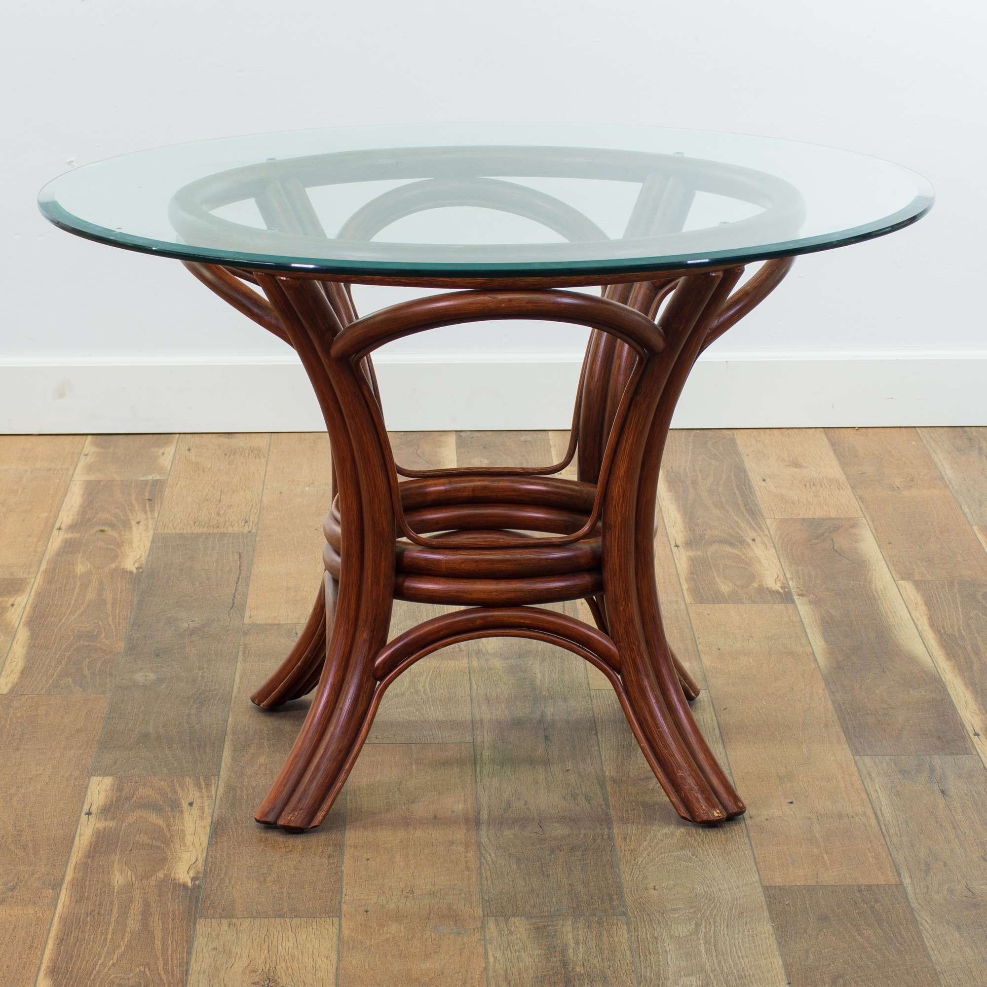 Picture of: Round Bamboo Dining Table W Glass Top Loveseat Online Auctions San Diego
