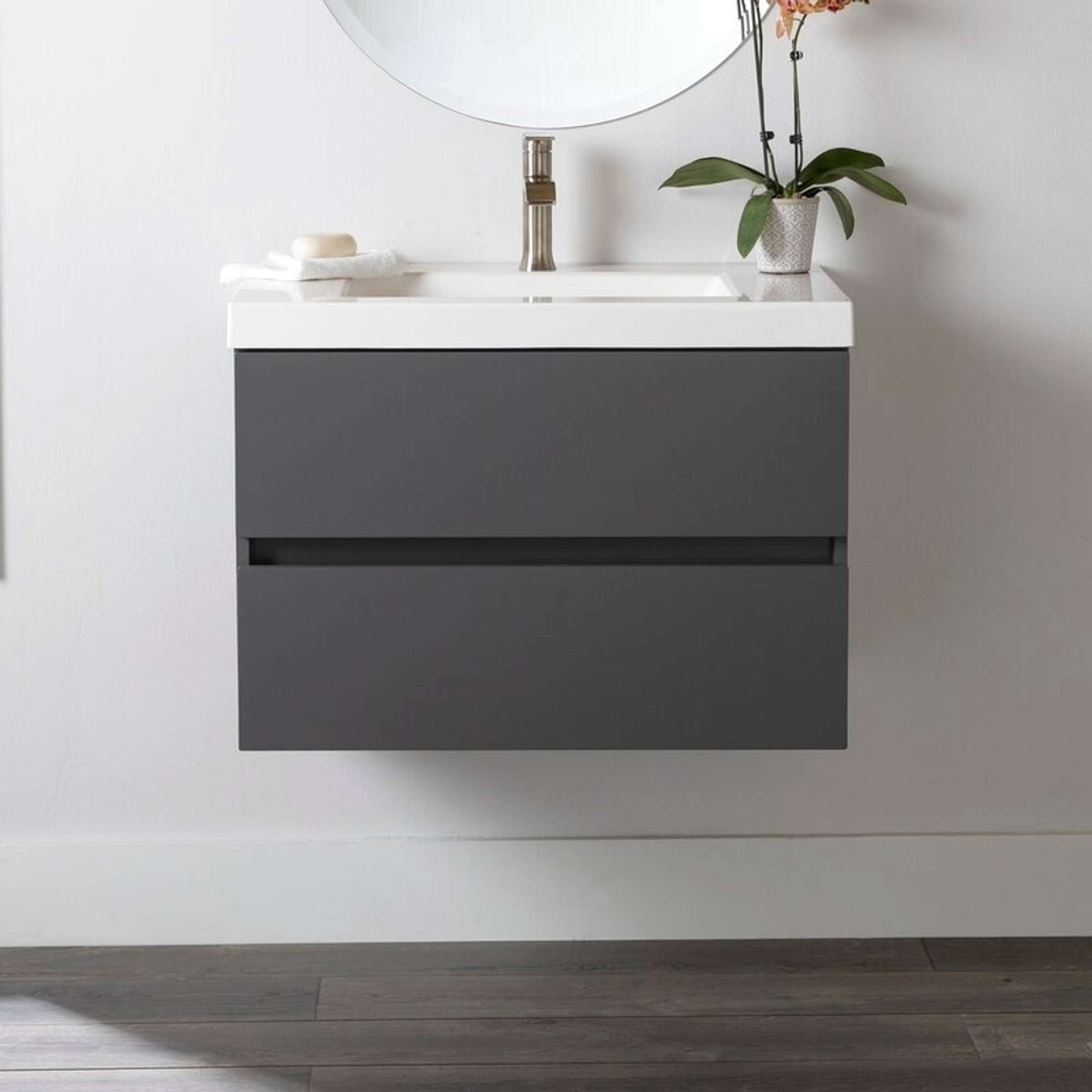 """31"""" azucena wall-mounted single bathroom vanity, cement   loveseat online auctions los angeles"""