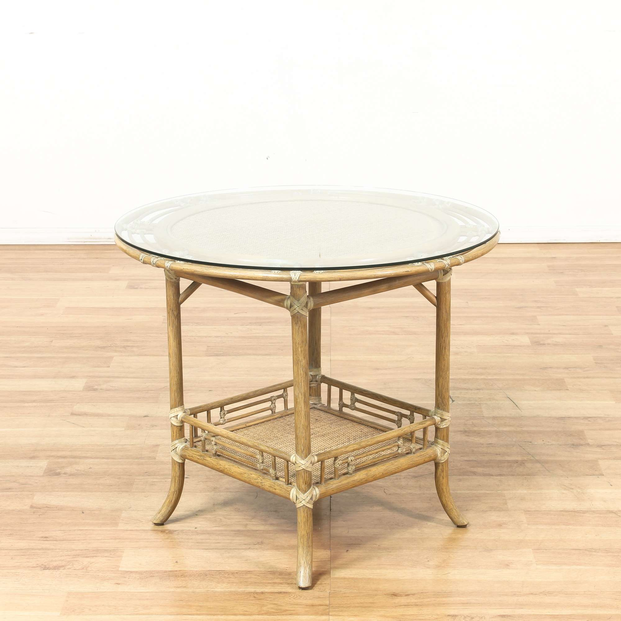 Rattan Bamboo Glass Top Round Bistro End Table Loveseat Vintage - Bamboo end table glass top