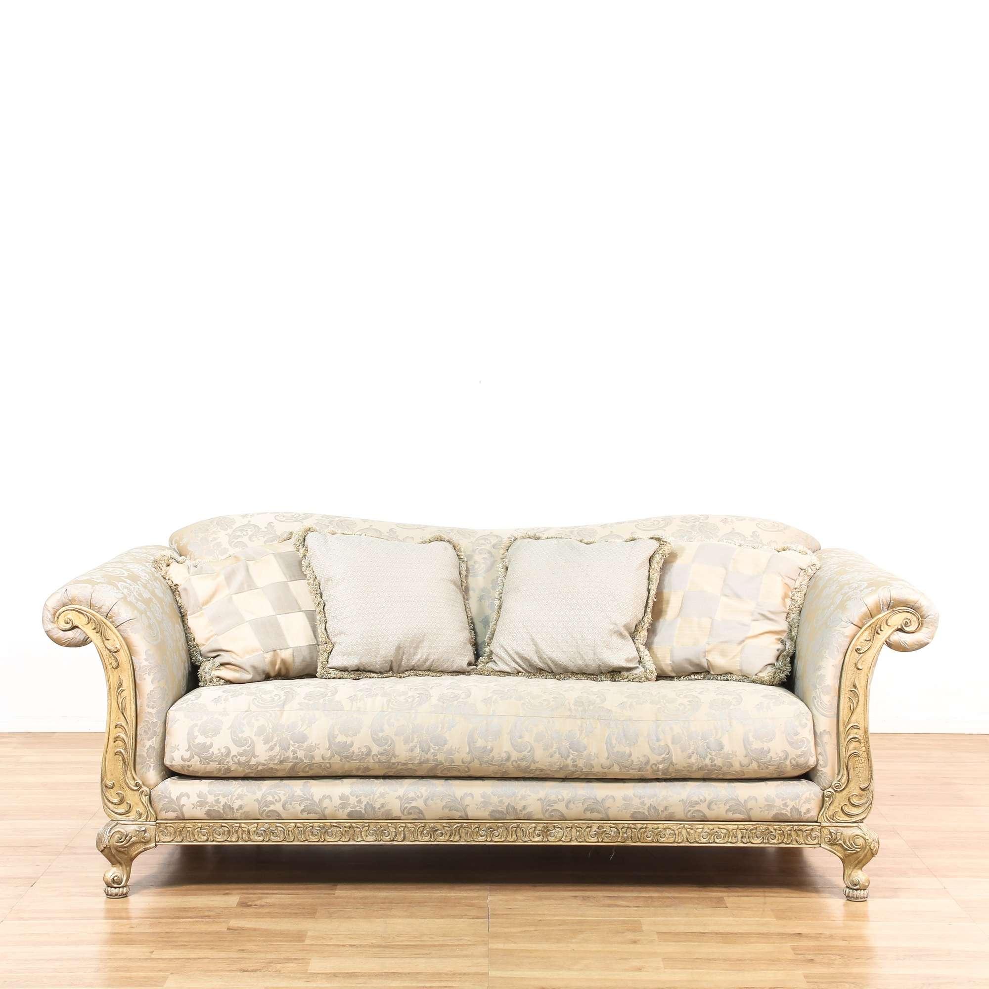 White & Blue Silk Wooden Carved Sofa | Loveseat Vintage Furniture ...