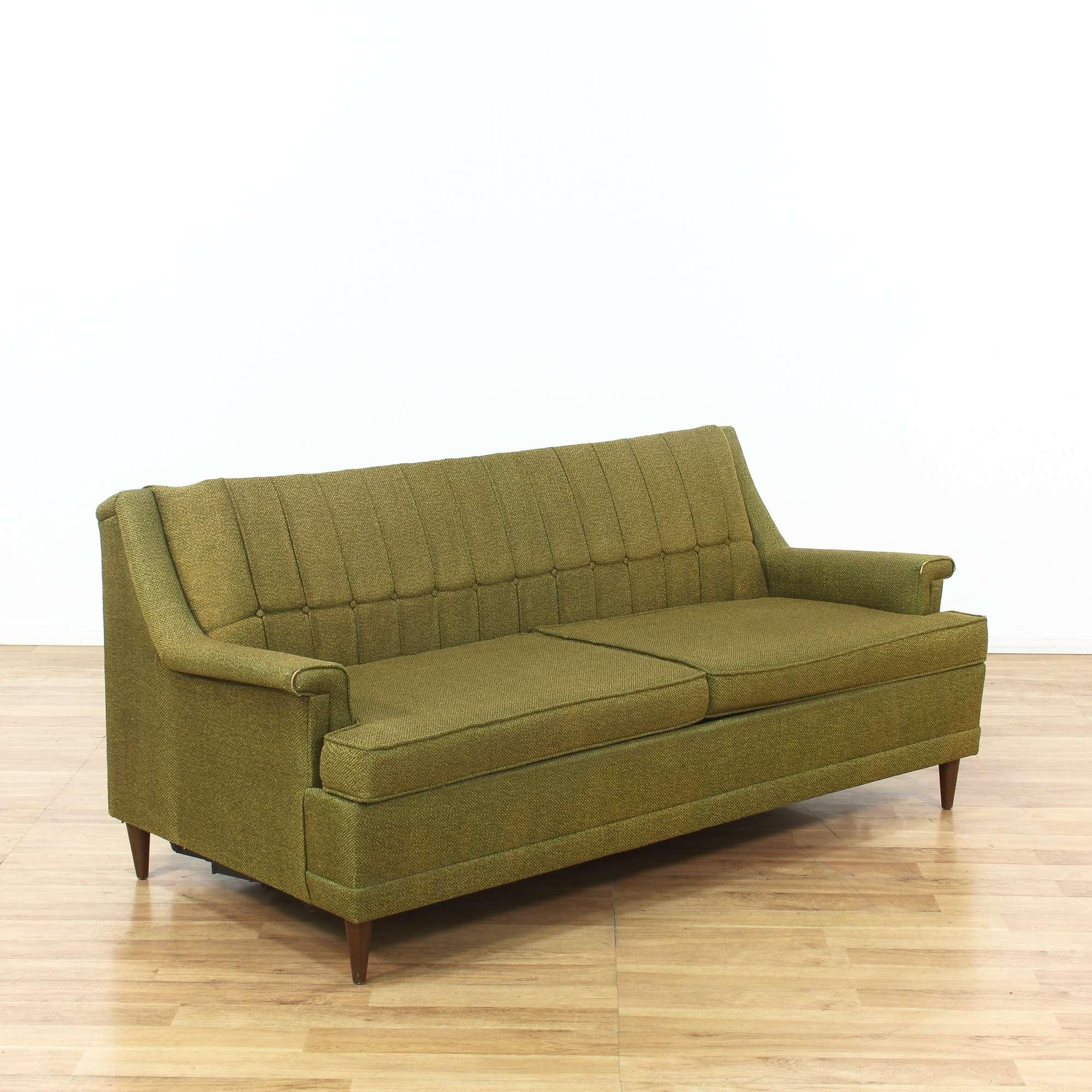 Kroehler Mid Century Modern Green Sleeper Sofa Loveseat