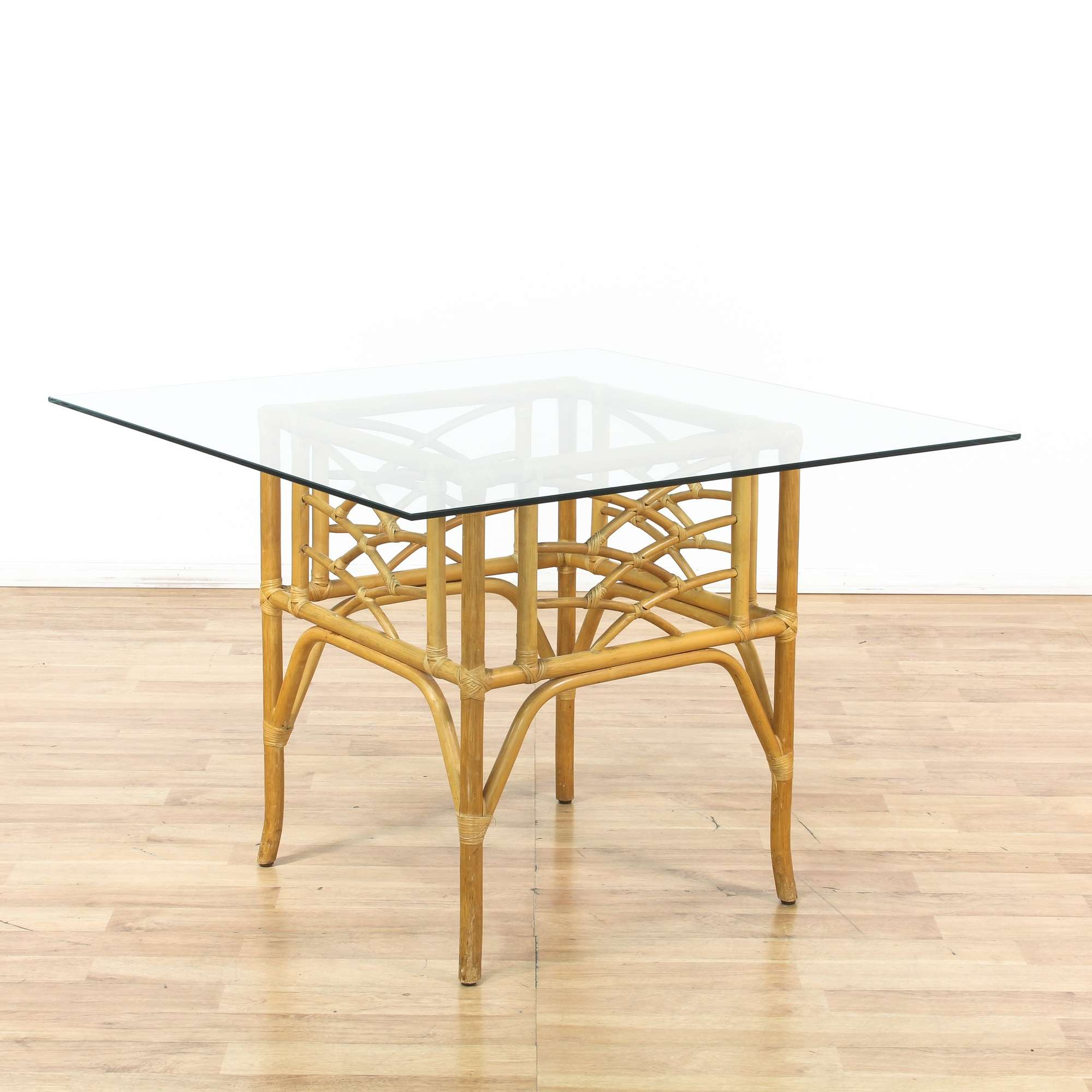 Tropical Square Glass Top Dining Table W Rattan Base -