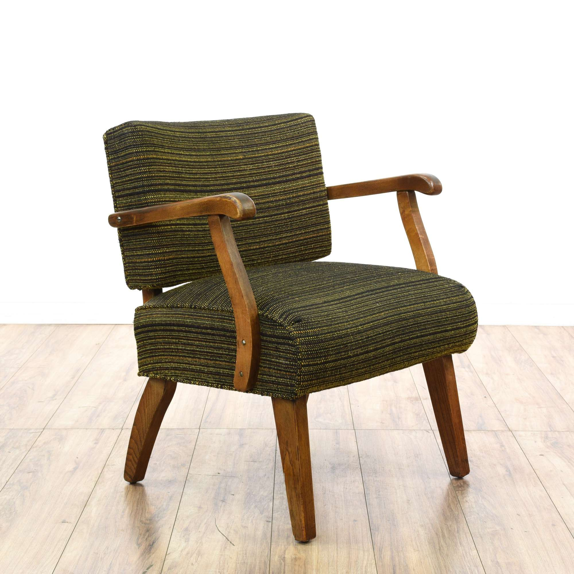 Mid century modern wood frame woven slipper chair