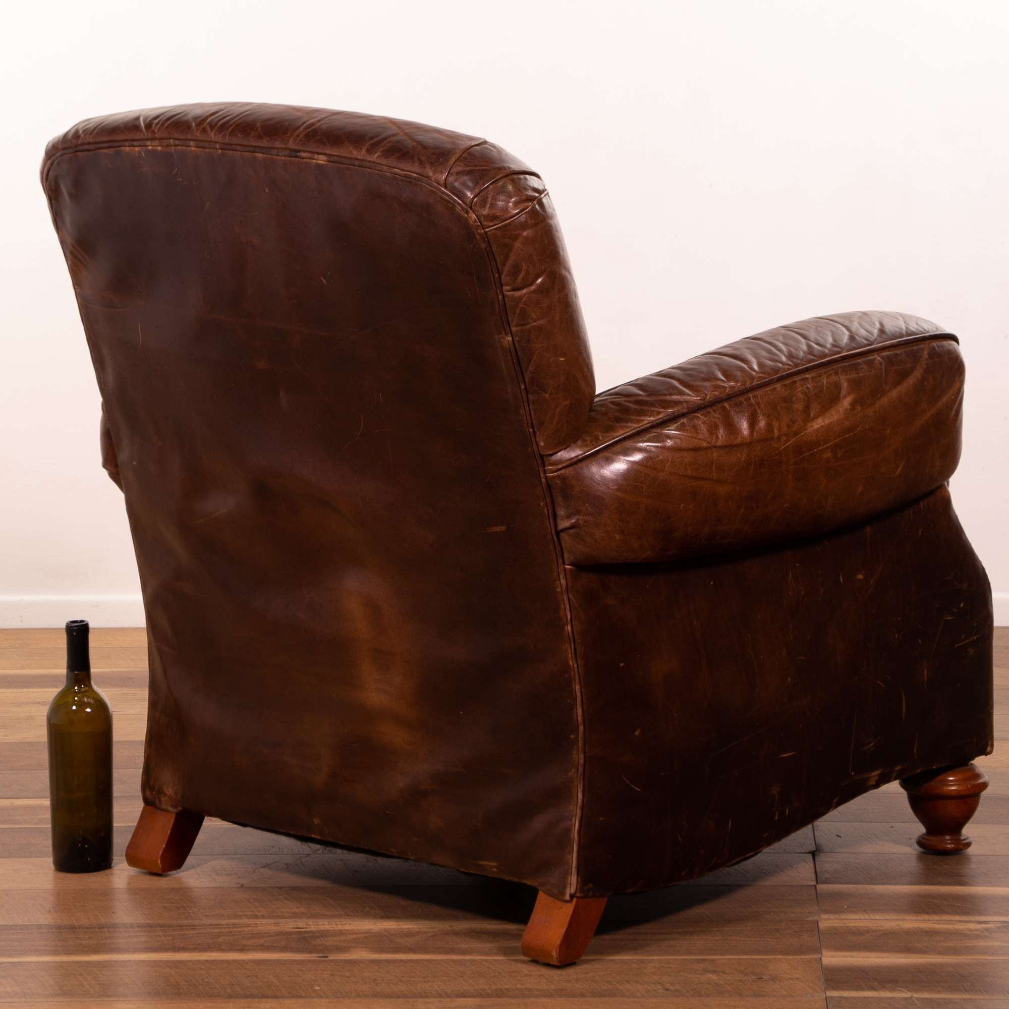 Century Chocolate Brown Leather Armchair WStud Detail ...