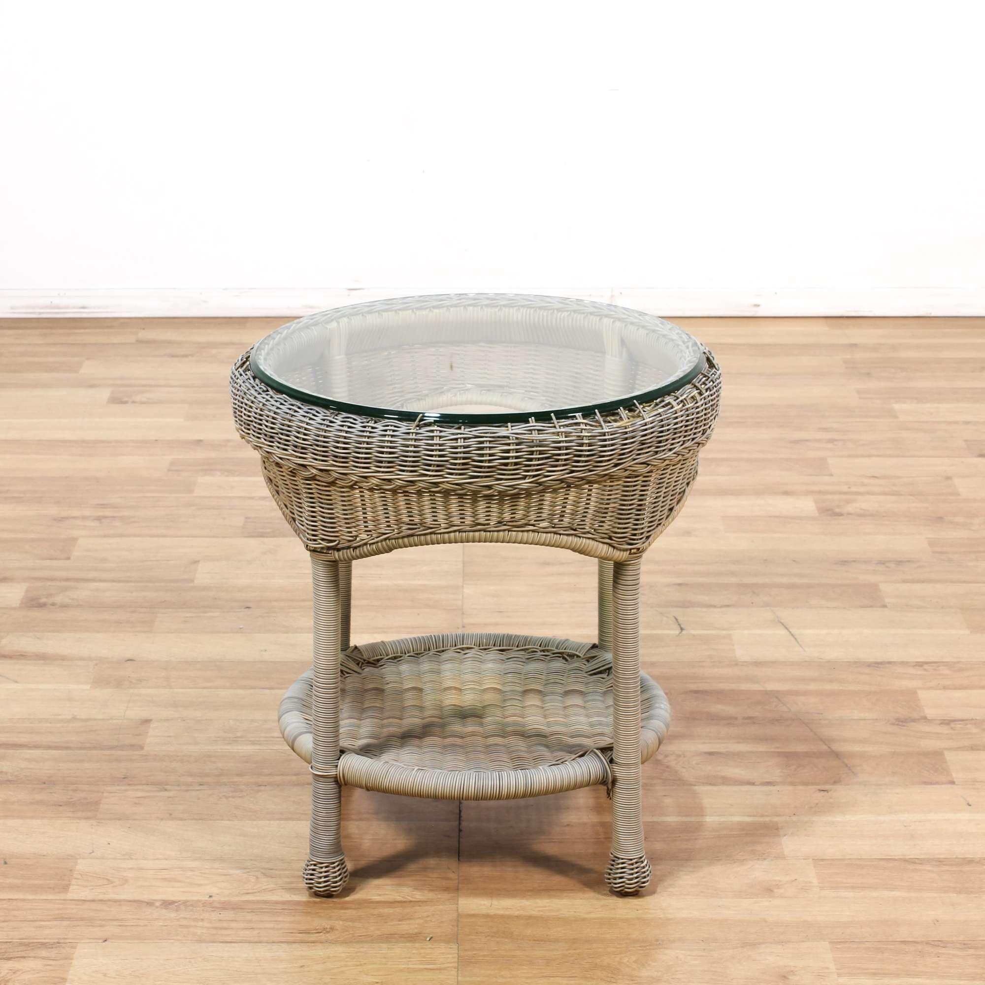 Round Gray Wicker Glass Patio Table