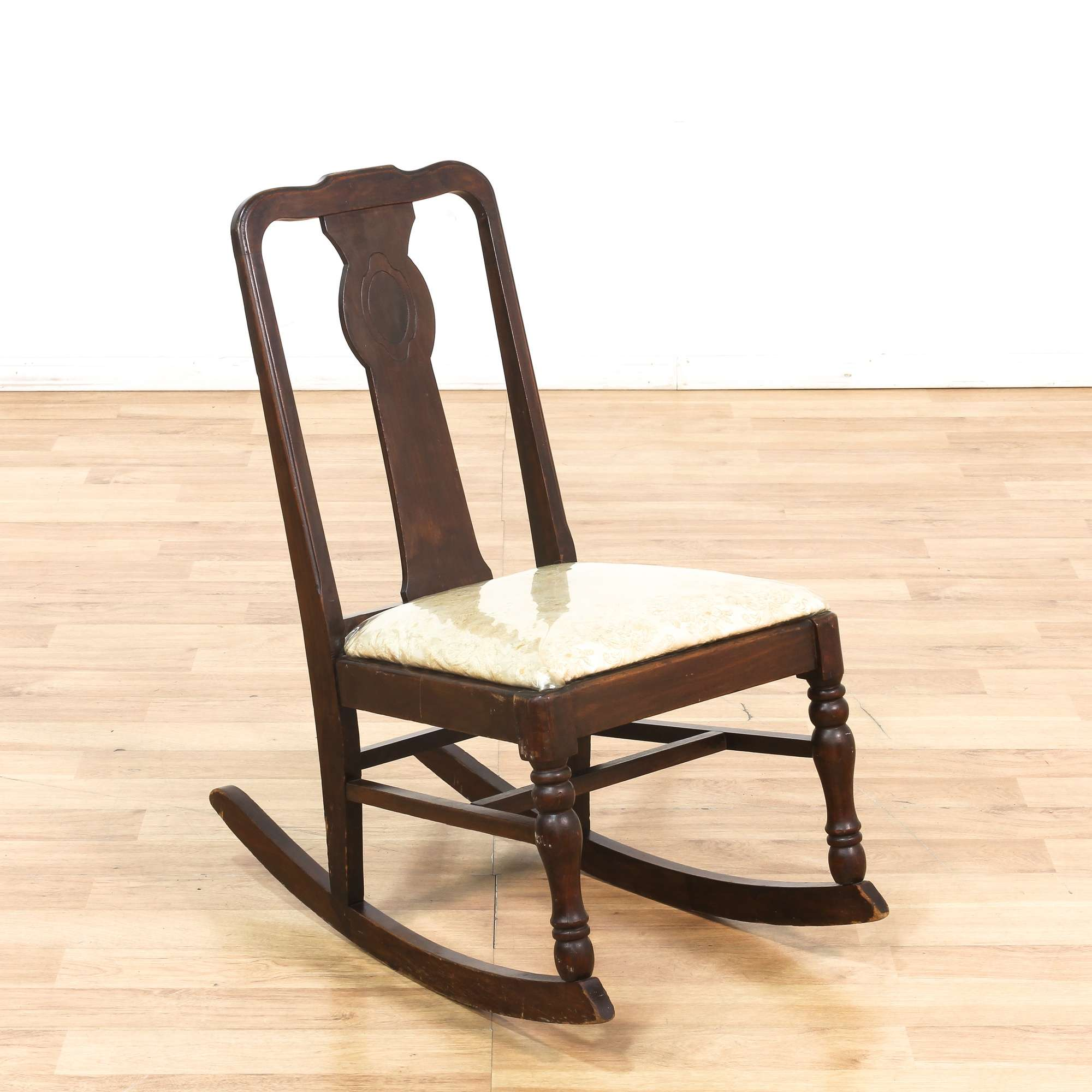 Small Dark Wood Rocking Chair w Upholstered Seat