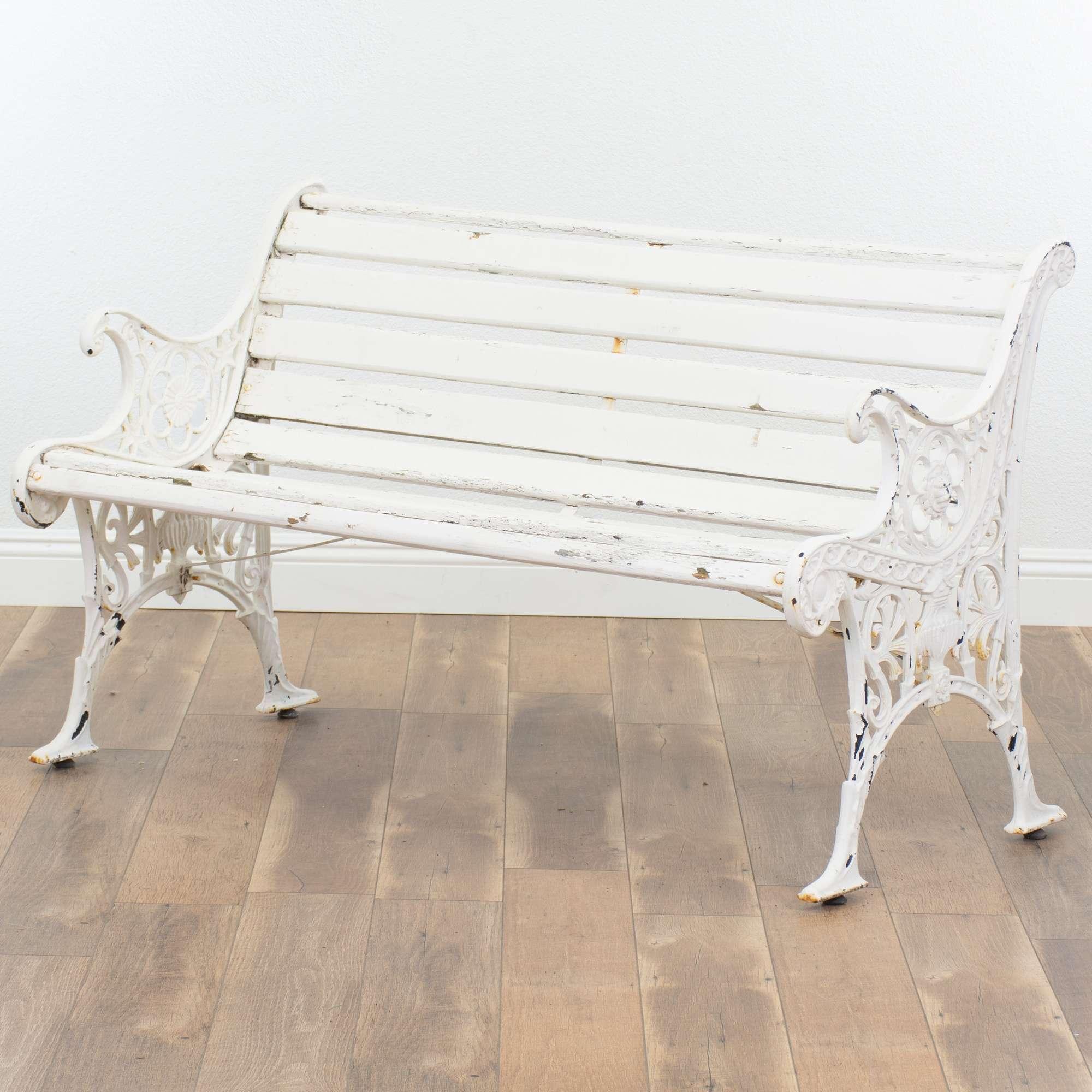 Superb White Metal Wood Patio Garden Bench Loveseat Vintage Andrewgaddart Wooden Chair Designs For Living Room Andrewgaddartcom