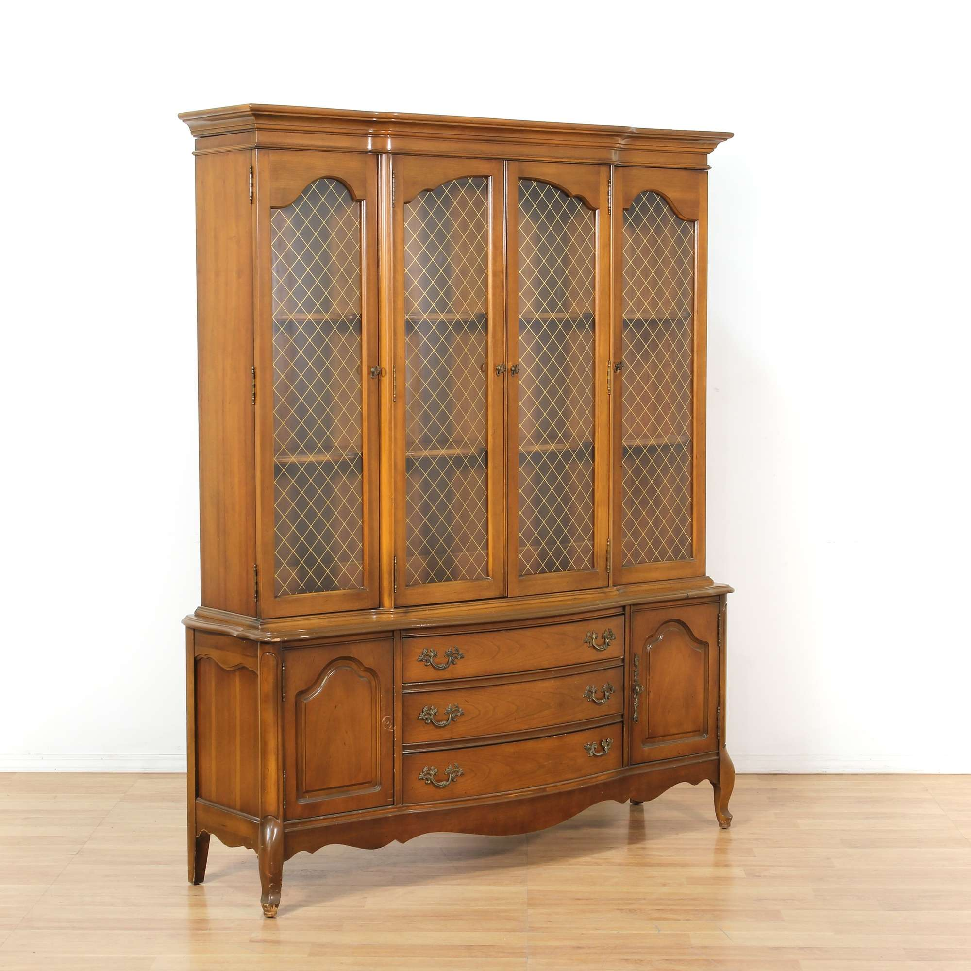 georgian mahogany english shop breakfront antique marquetry china vintage sold cabinet
