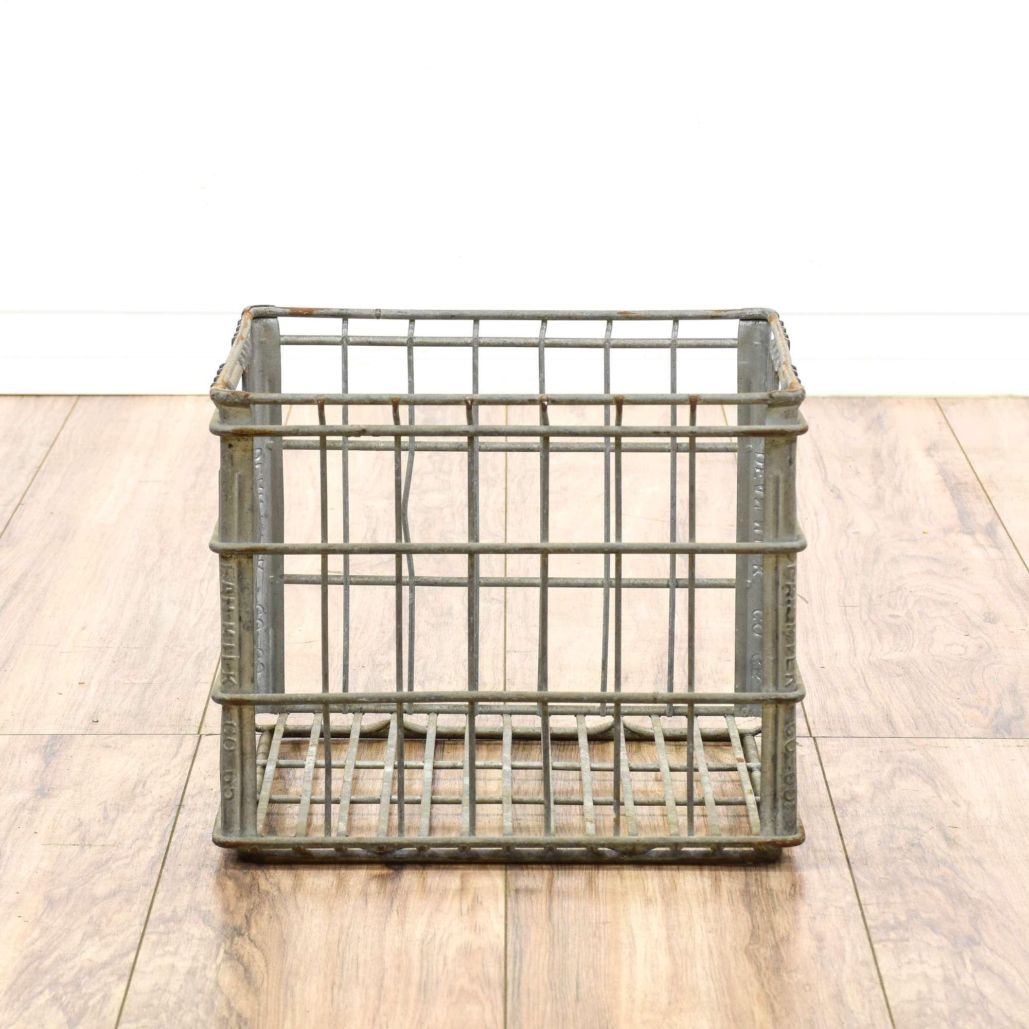 Rustic Wire Square Basket Milk Crate 10 | Loveseat Vintage Furniture ...