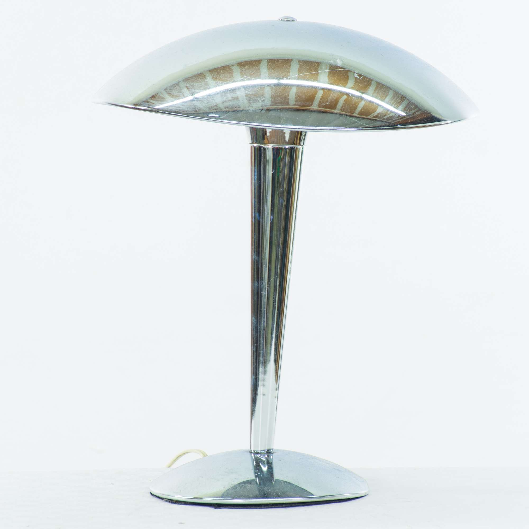 Chrome Art Deco Dome Table Lamp Loveseat Vintage Furniture