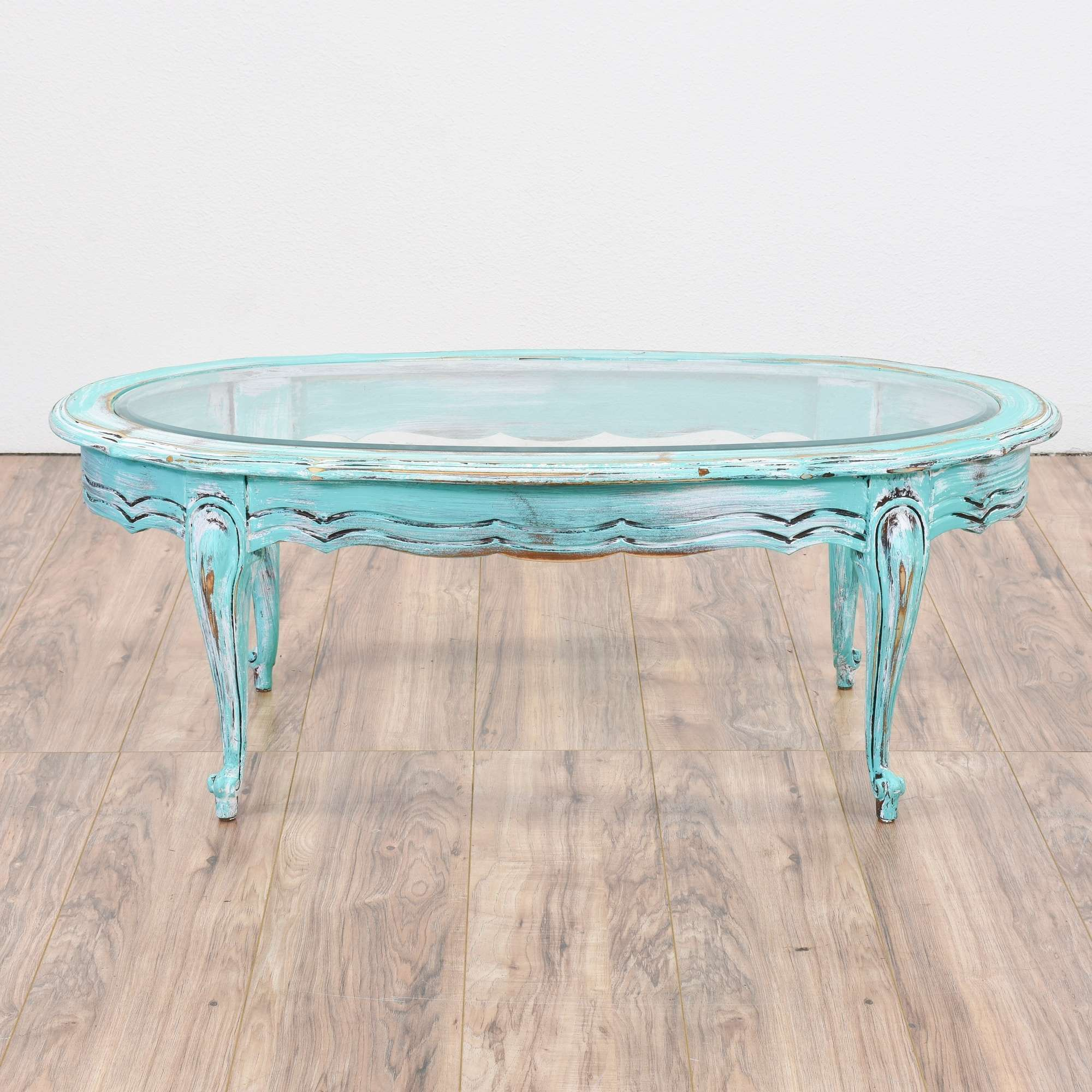 Light Blue Shabby Chic Oval Coffee Table