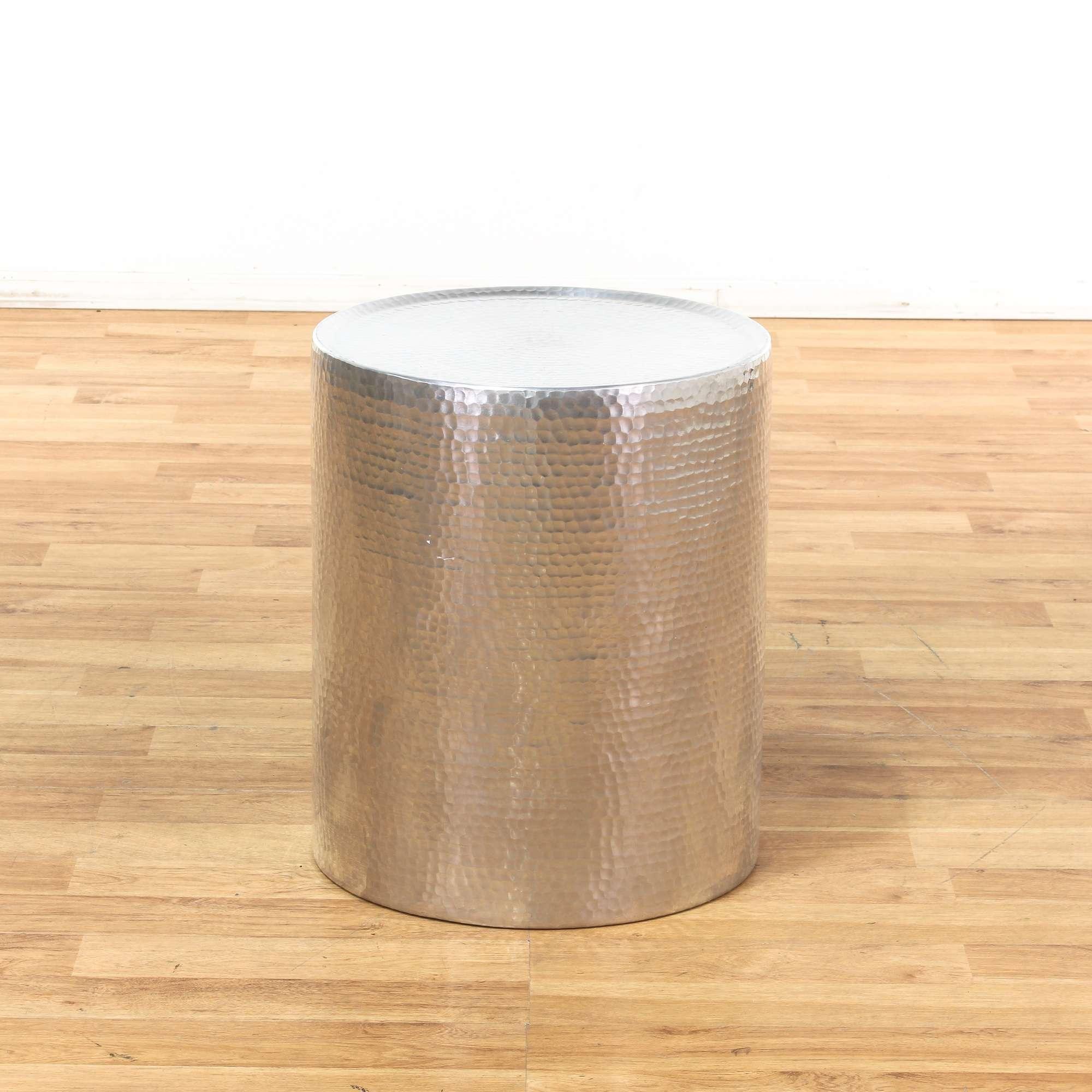 Hammered Silver Metallic Drum End Table Loveseat Vintage