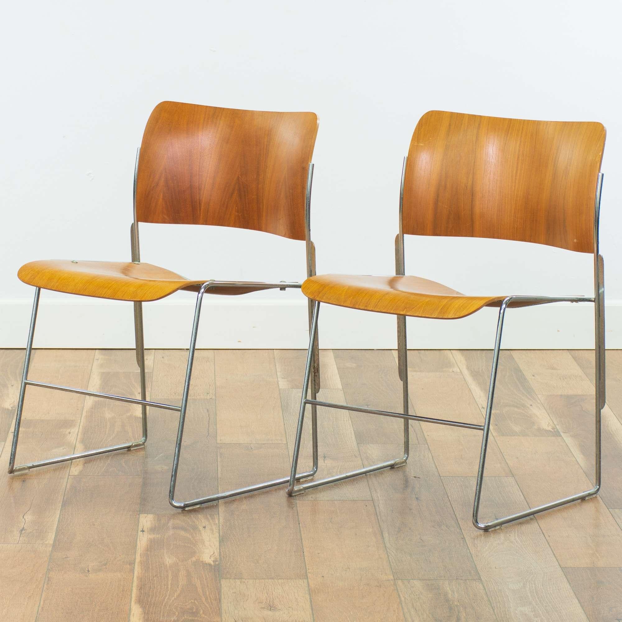 Pair David Rowland Mid Century Modern Stacking Chairs