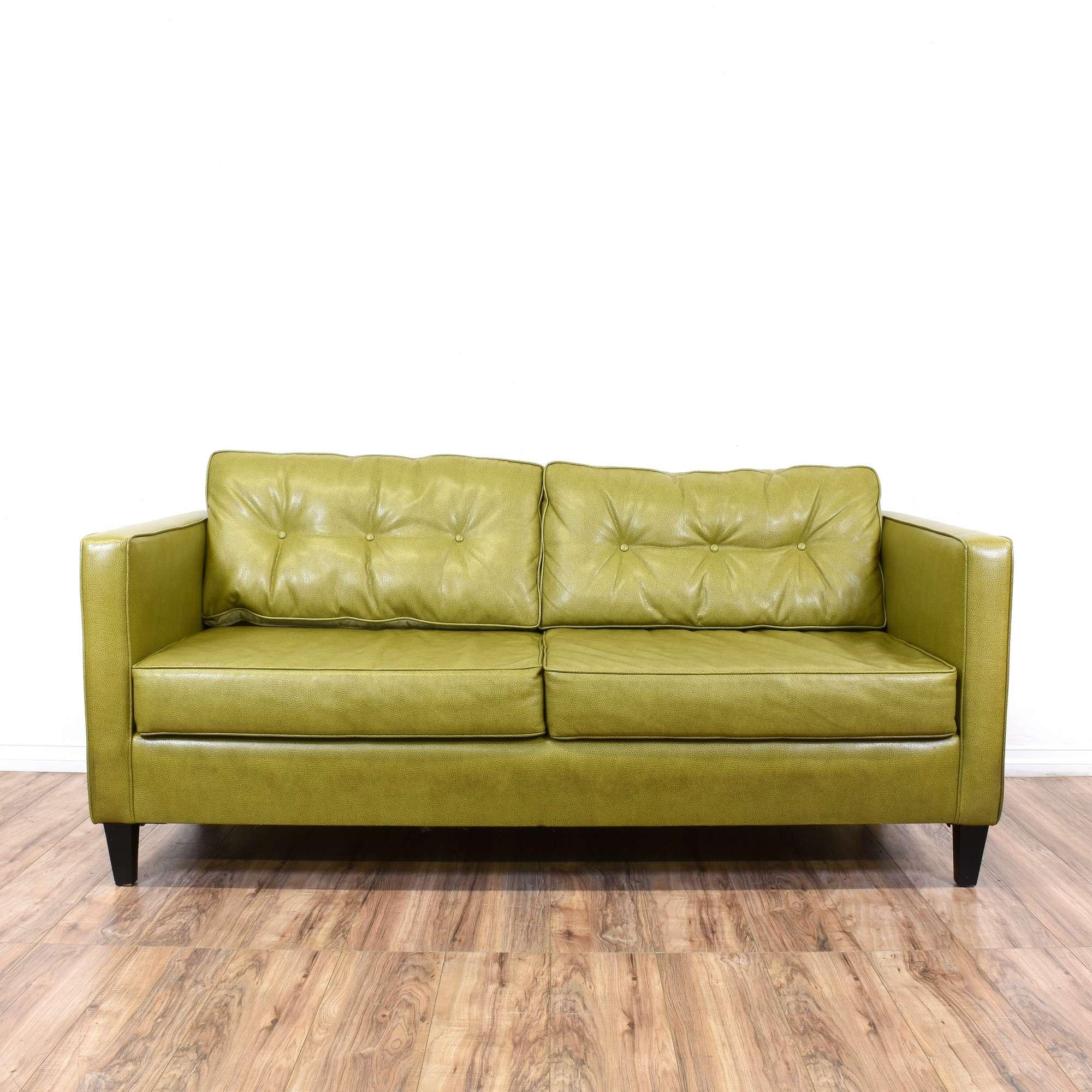 Mid Century Style Tufted Green Loveseat Sofa - Loveseat Vintage