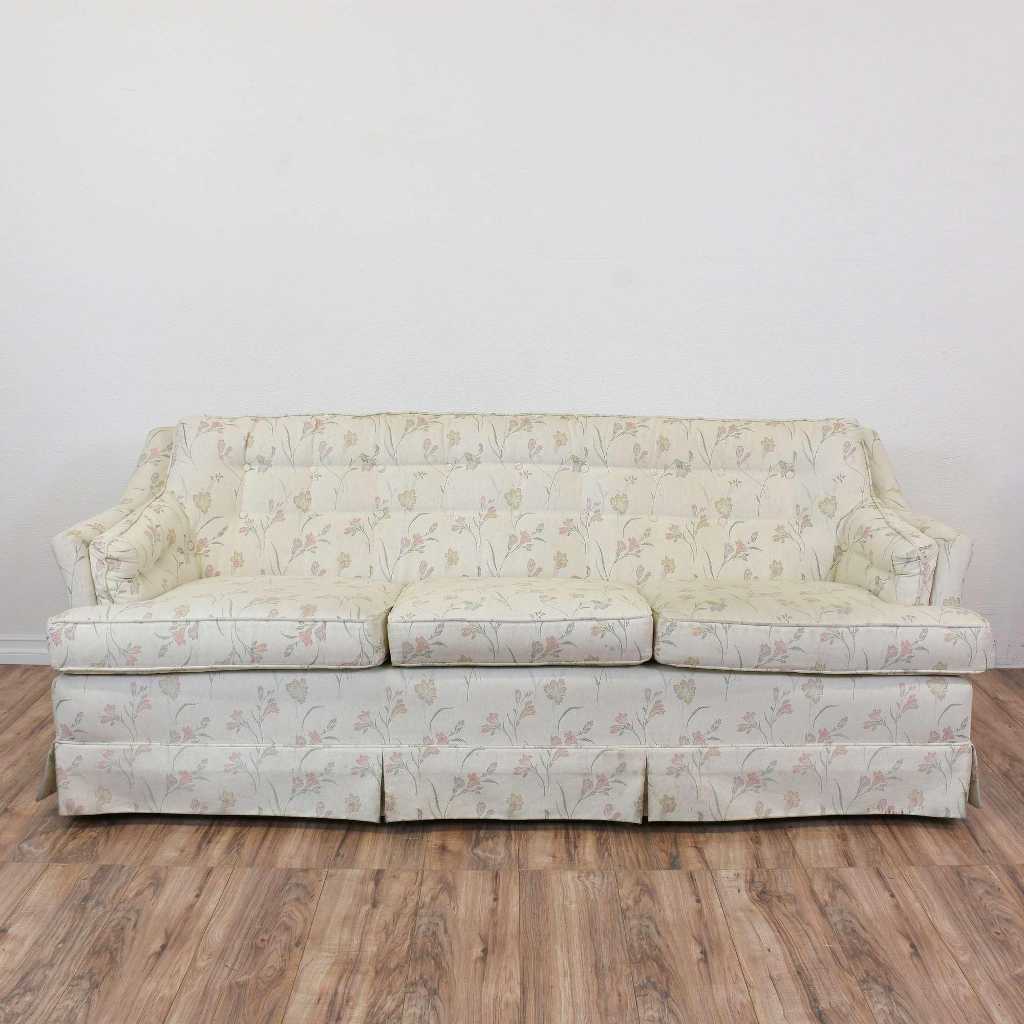 "Cavalier"" White Floral Tufted Sofa"