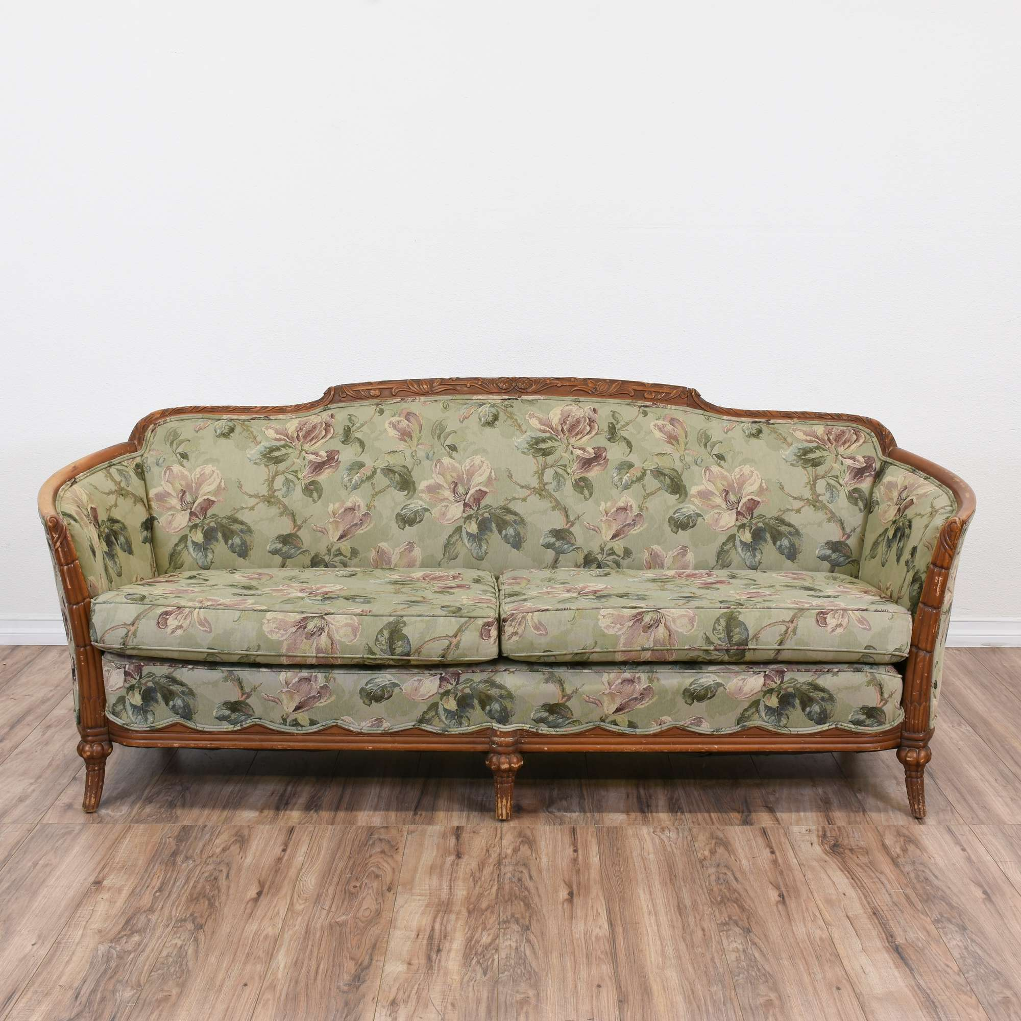 Antique Wooden Sofa ~ Antique wood trimmed sofa energywarden