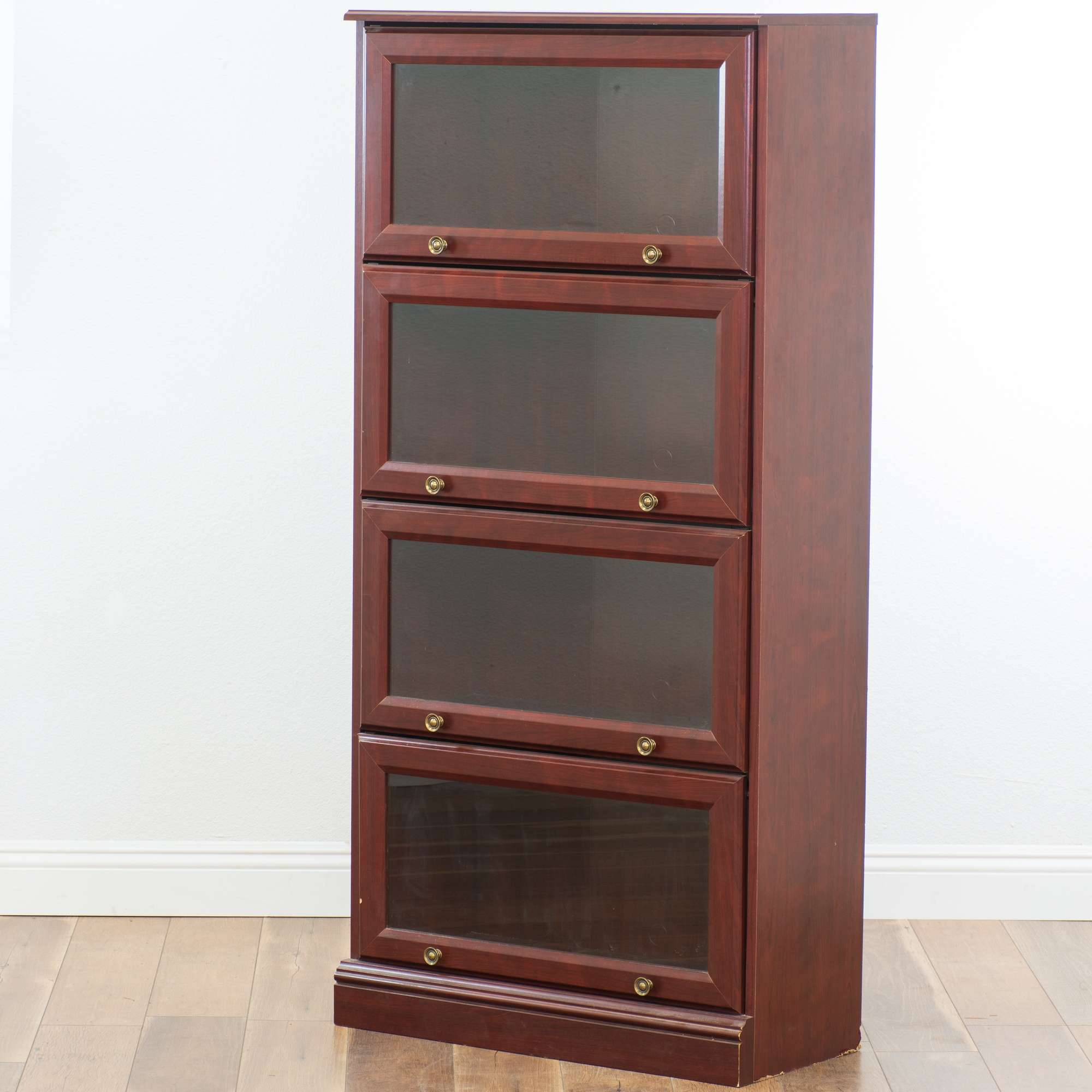 Contemporary Cherry Veneer 4 Shelf Barrister Bookcase