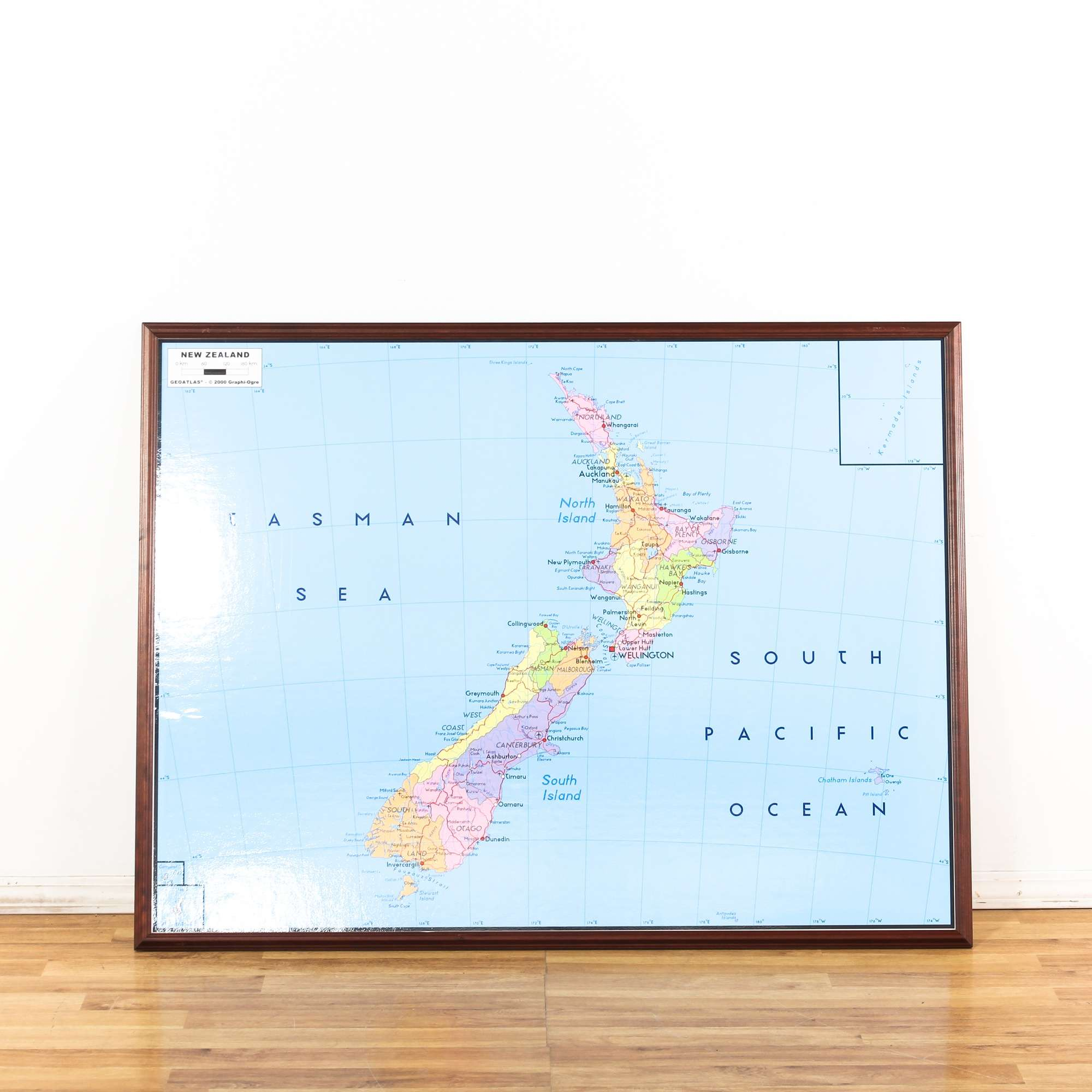 Wood Framed New Zealand Map Wall Art 3 Loveseat Vintage Furniture