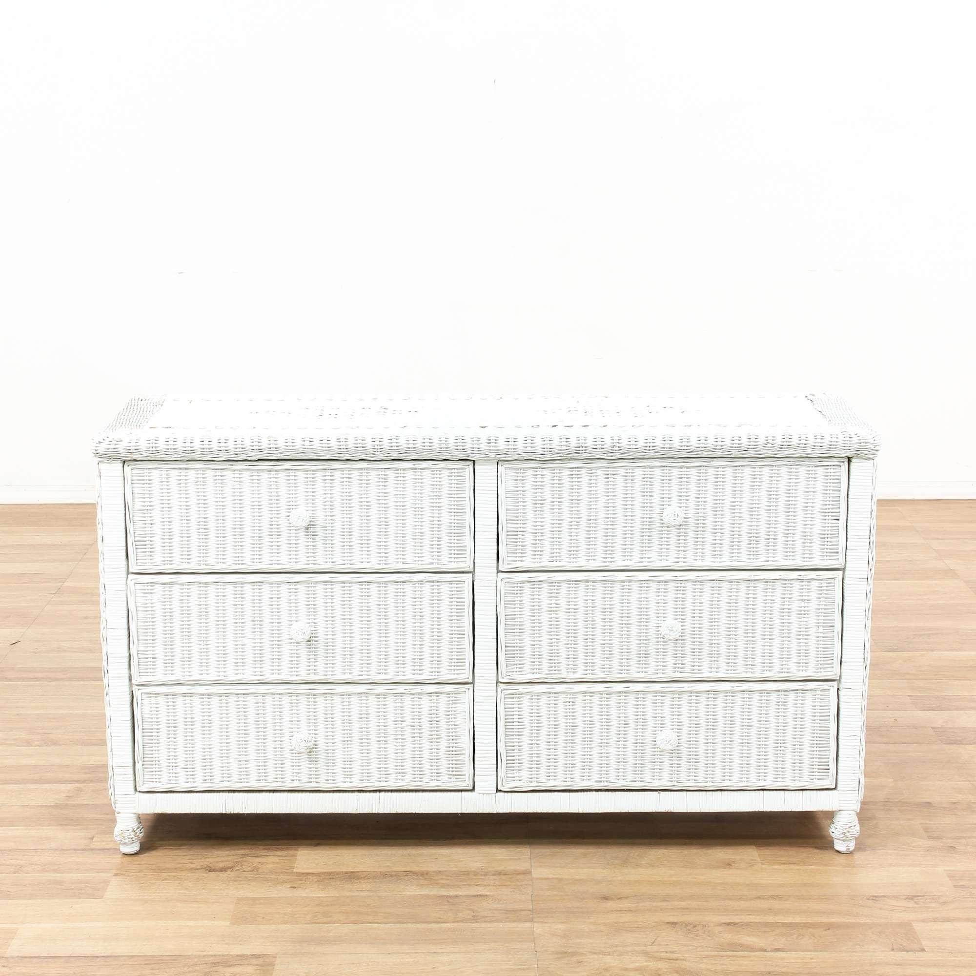 6 Drawer White Wicker Dresser 1 | Loveseat Vintage Furniture ...