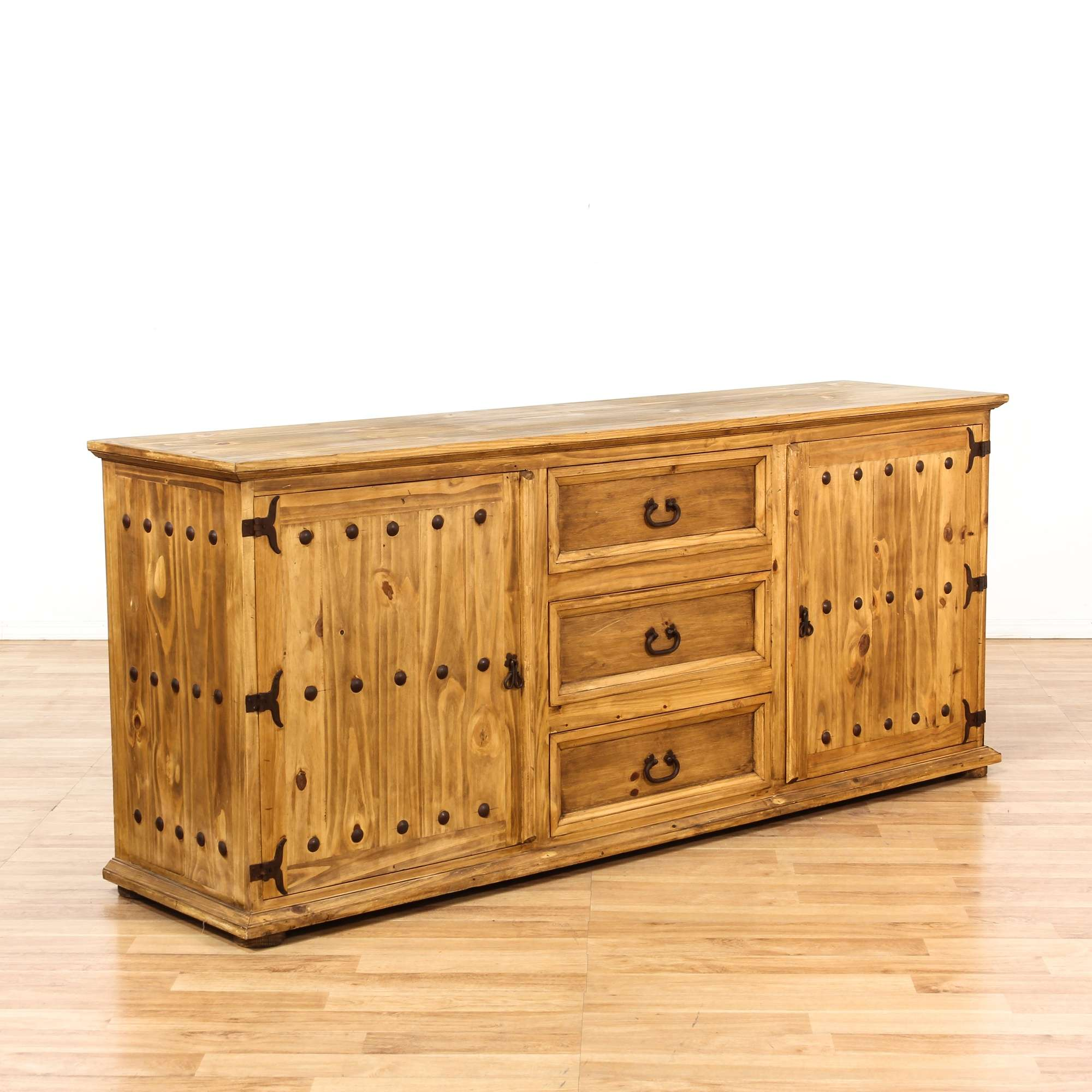 Rustic Mexican Style Pine Buffet W 3 Drawers Loveseat Vintage Furniture Los Angeles