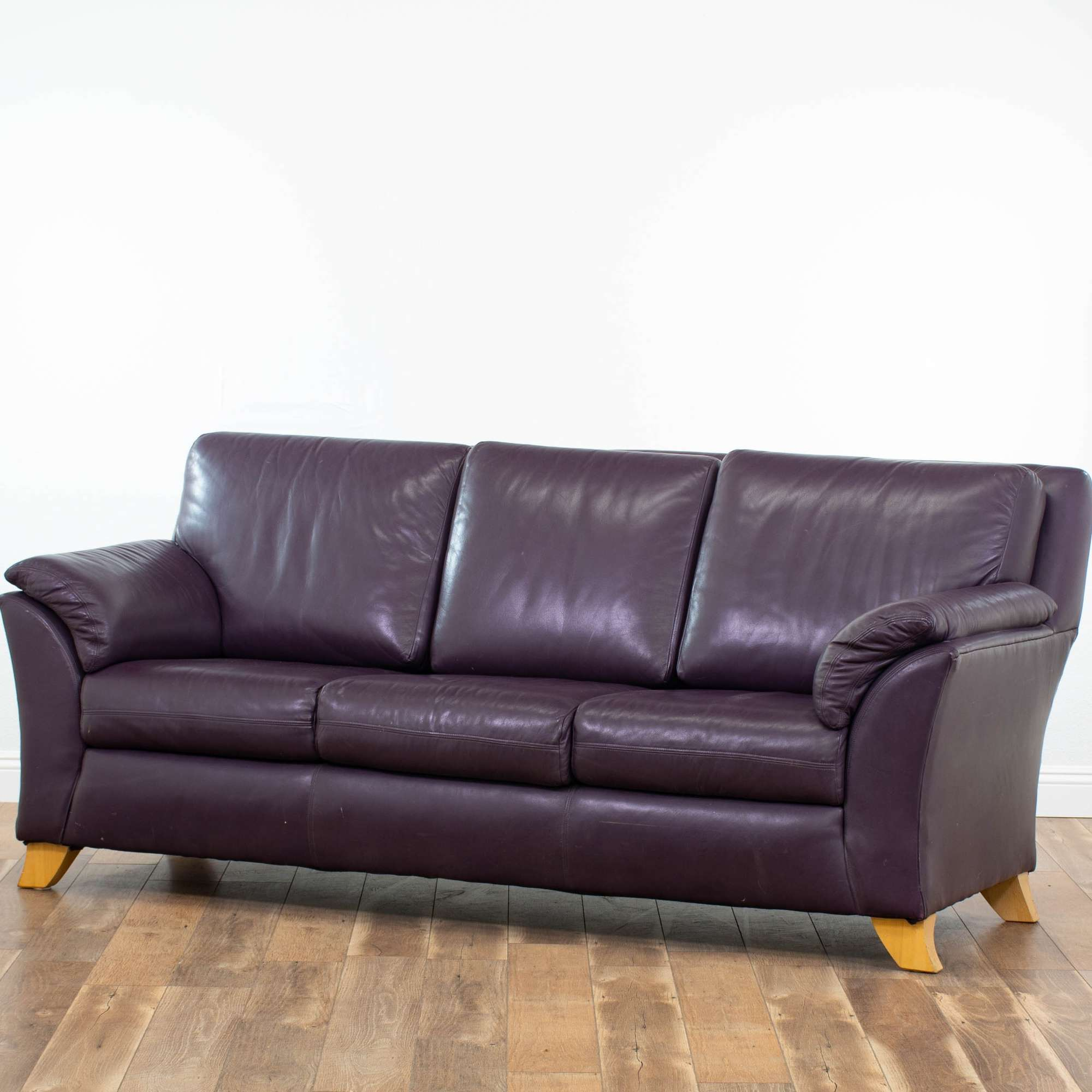 Genuine Leather Sofa By The Leather Factory In Plum ...