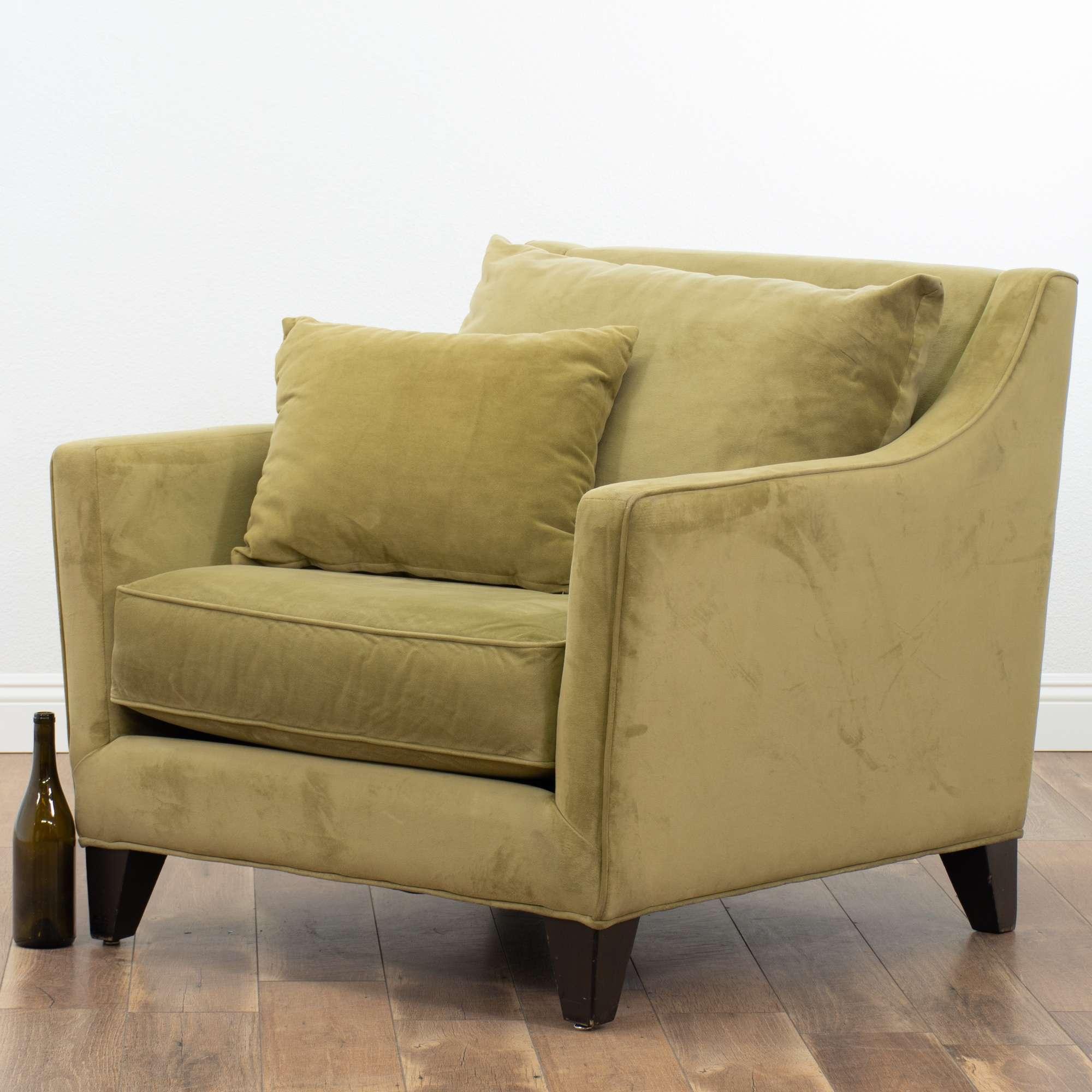 Tarragon Microfiber Armchair W/ Throw Pillow | Loveseat ...