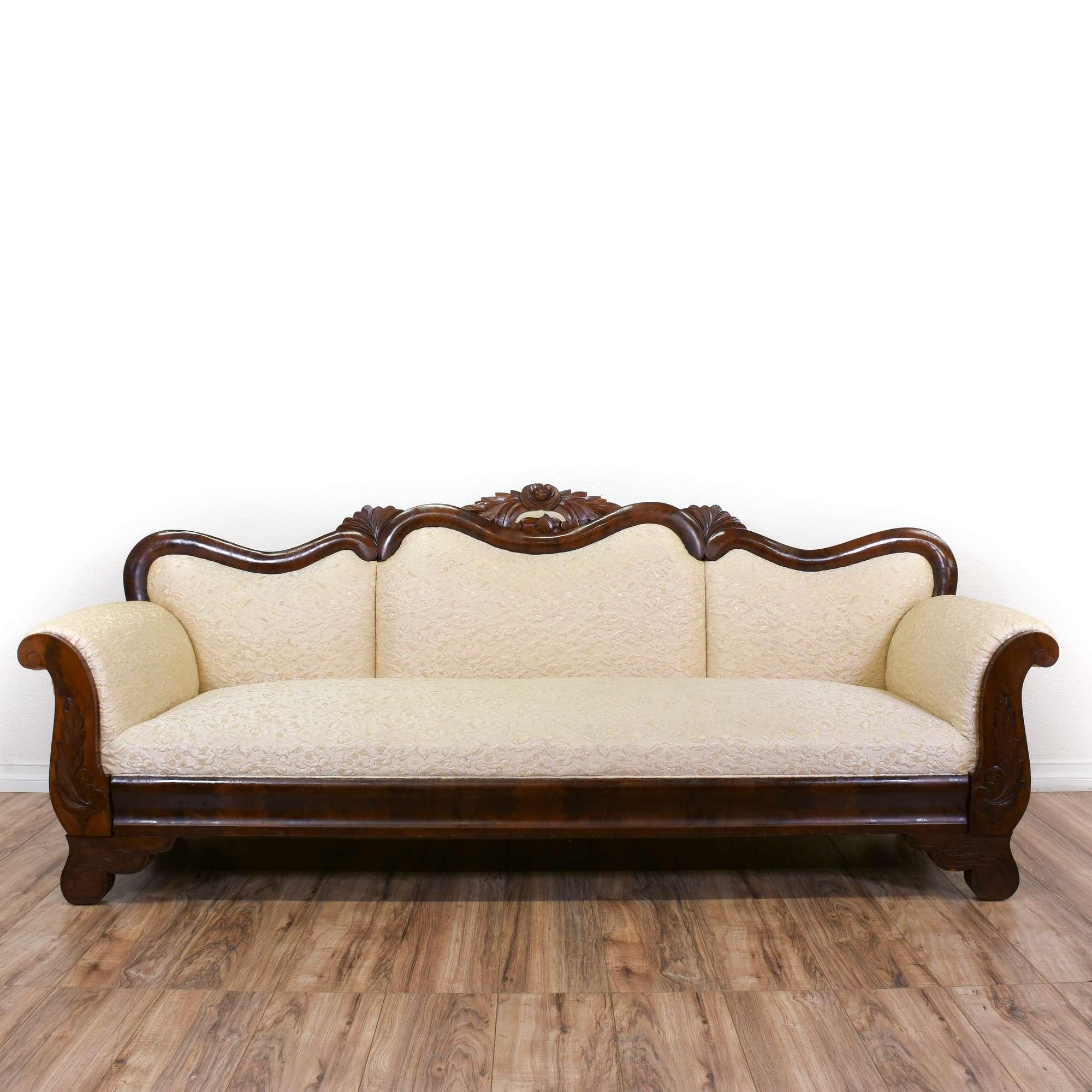Antique Victorian Floral Pink Carved Sofa | Loveseat Vintage ...