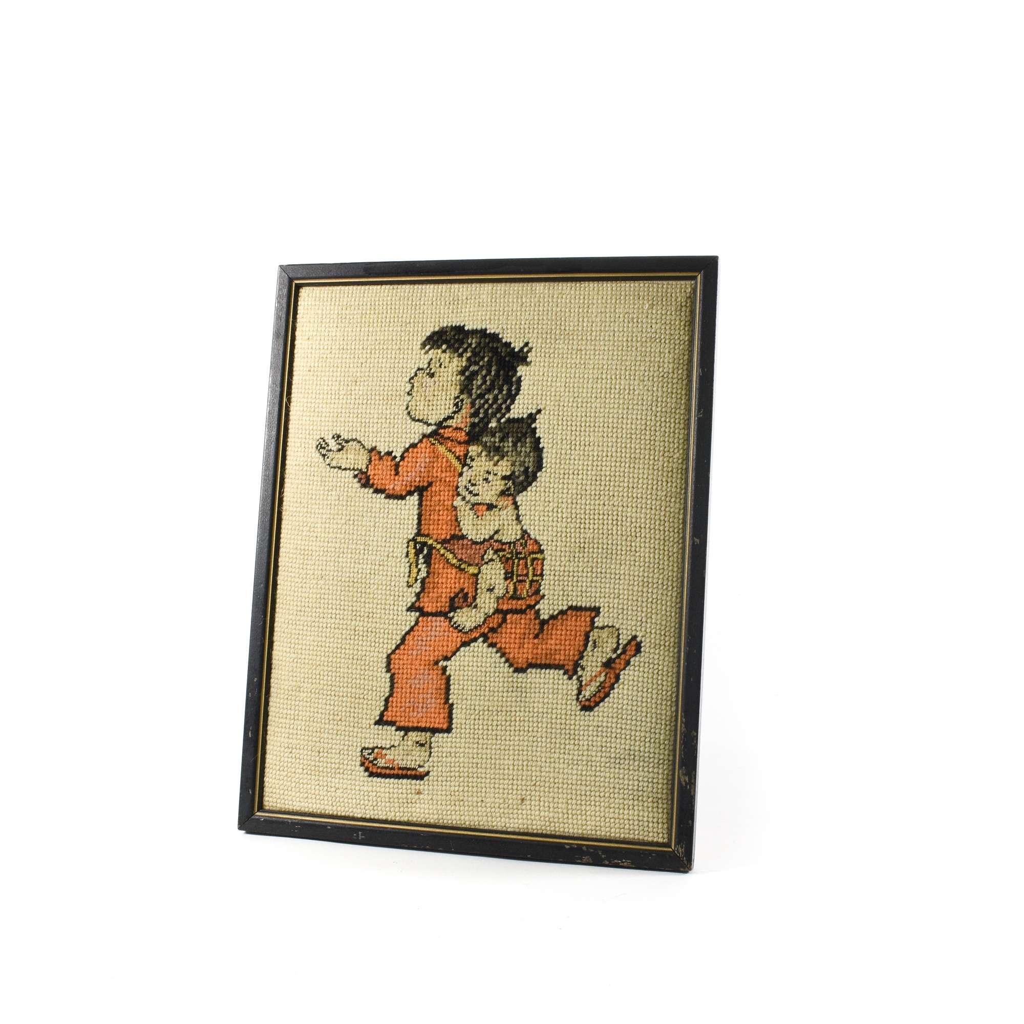 Bohemian Asian Needlepoint Wall Art | Loveseat Vintage Furniture San ...