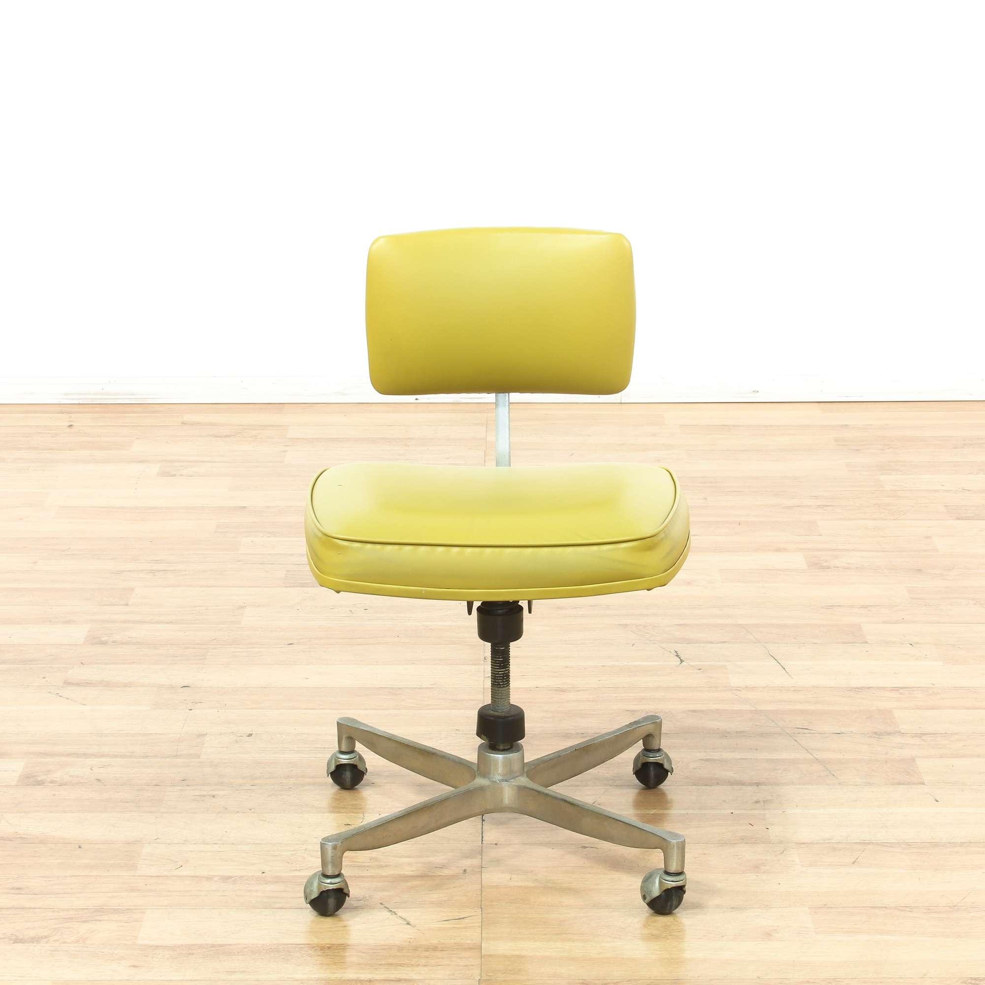 metalcraft yellow green vinyl rolling office chair loveseat