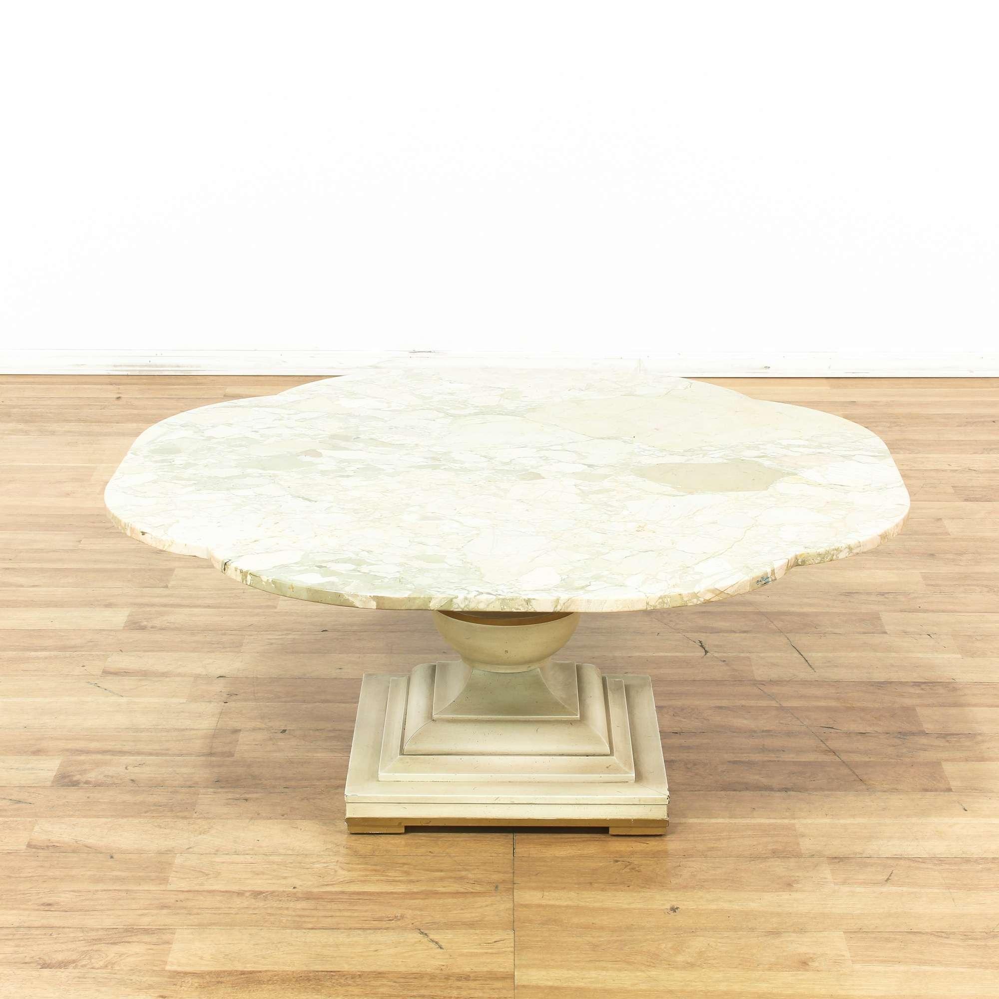 Italian Marble Top Pedestal Coffee Table - Loveseat Vintage Furniture