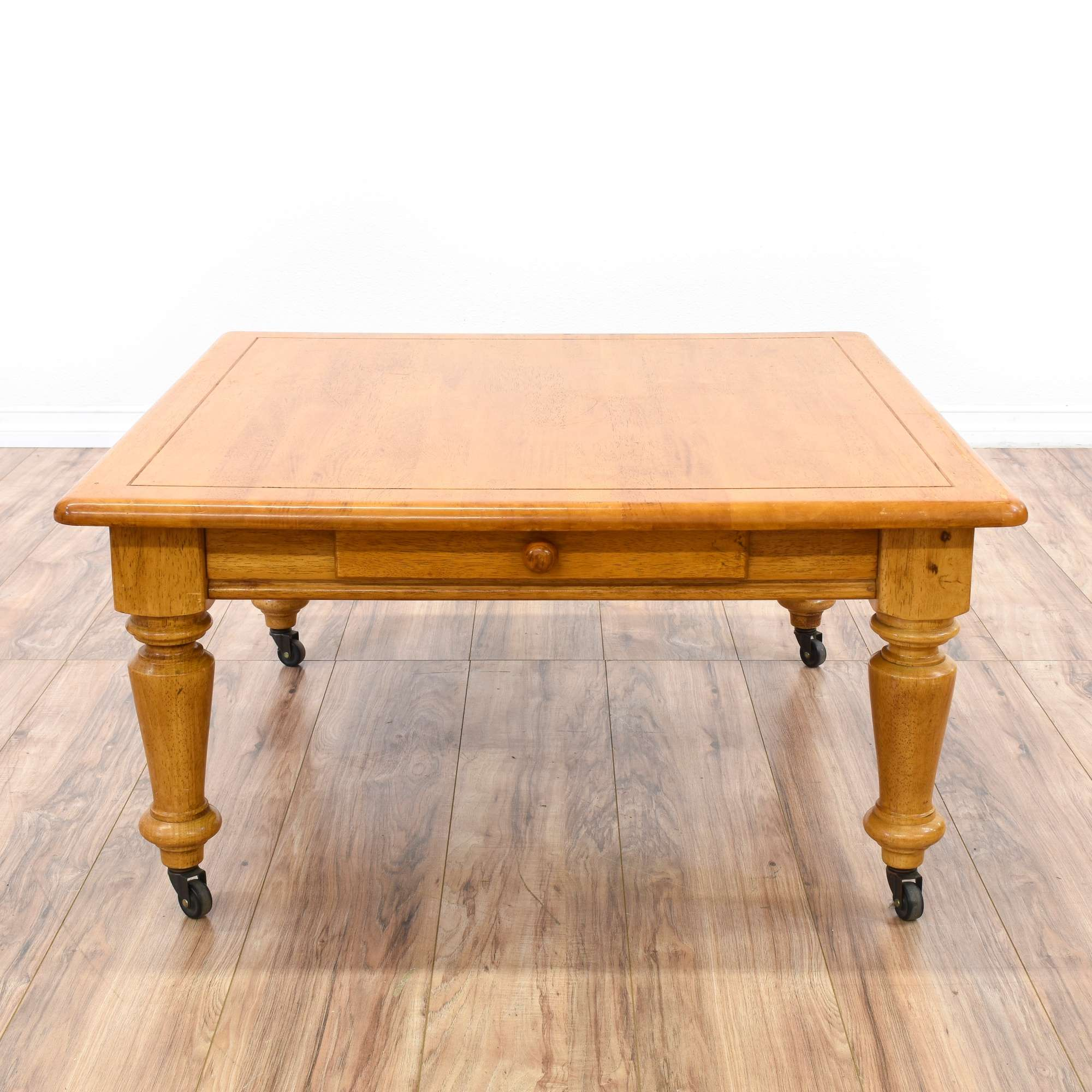 Square Country Chic Coffee Table on Casters