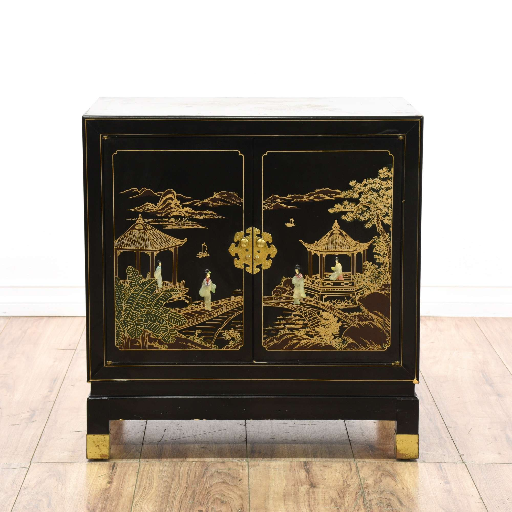 Asian Black Lacquered Chinoiserie Inlay Cabinet 1 Loveseat Vintage Furniture San Go