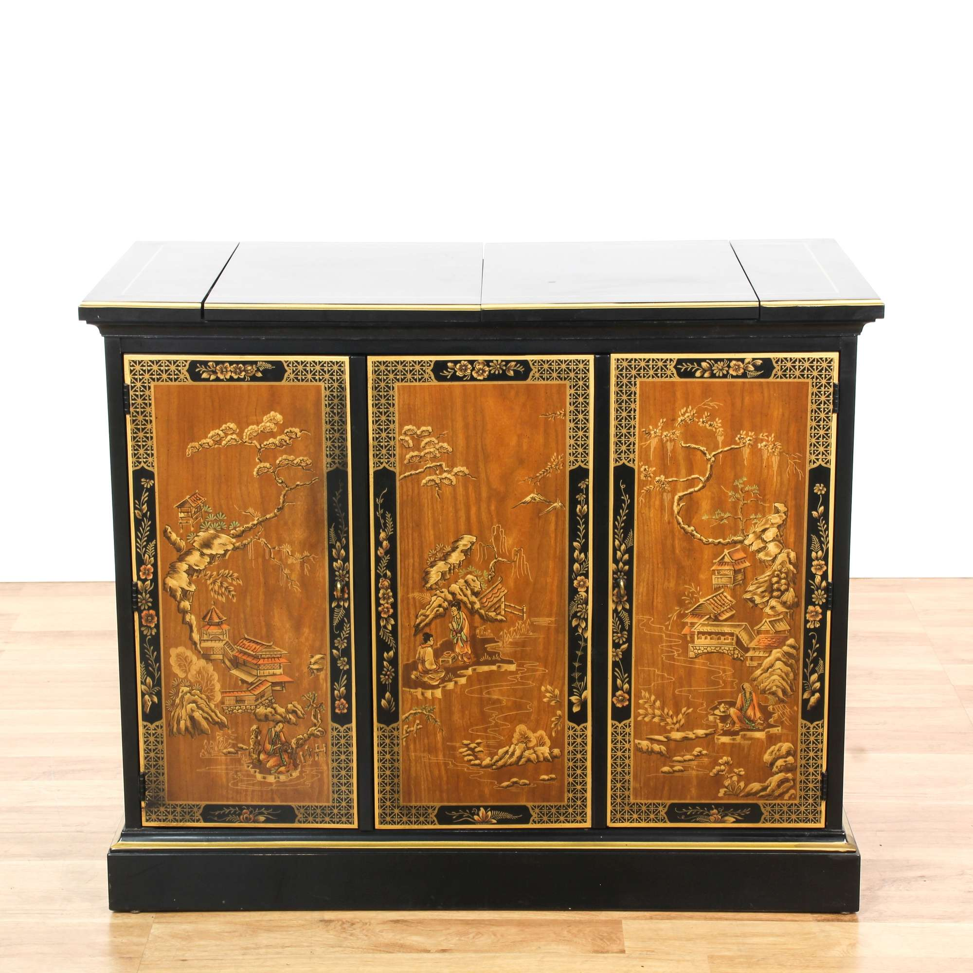 Asian Drexel Black Lacquered Chinoiserie Buffet Loveseat Vintage Furniture Los Angeles
