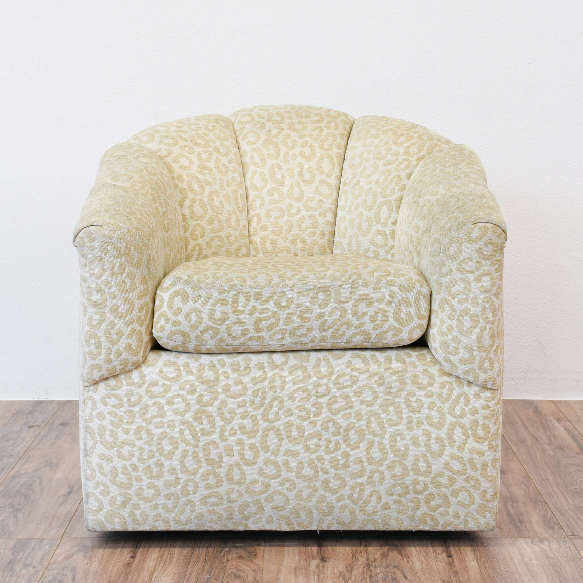 Neutral Beige Leopard Print Fan Back Armchair | Loveseat Vintage ...