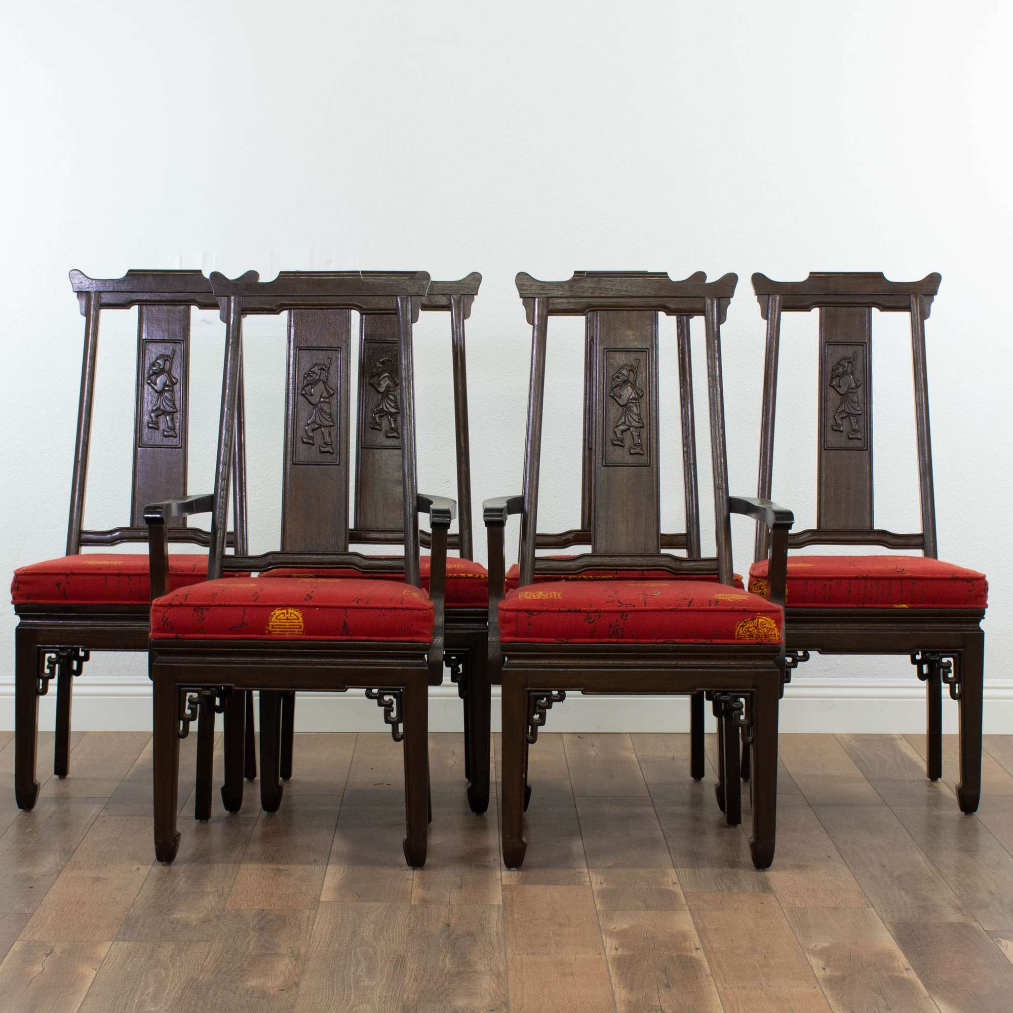 Set of 6 carved solid wood asian style dining chairs