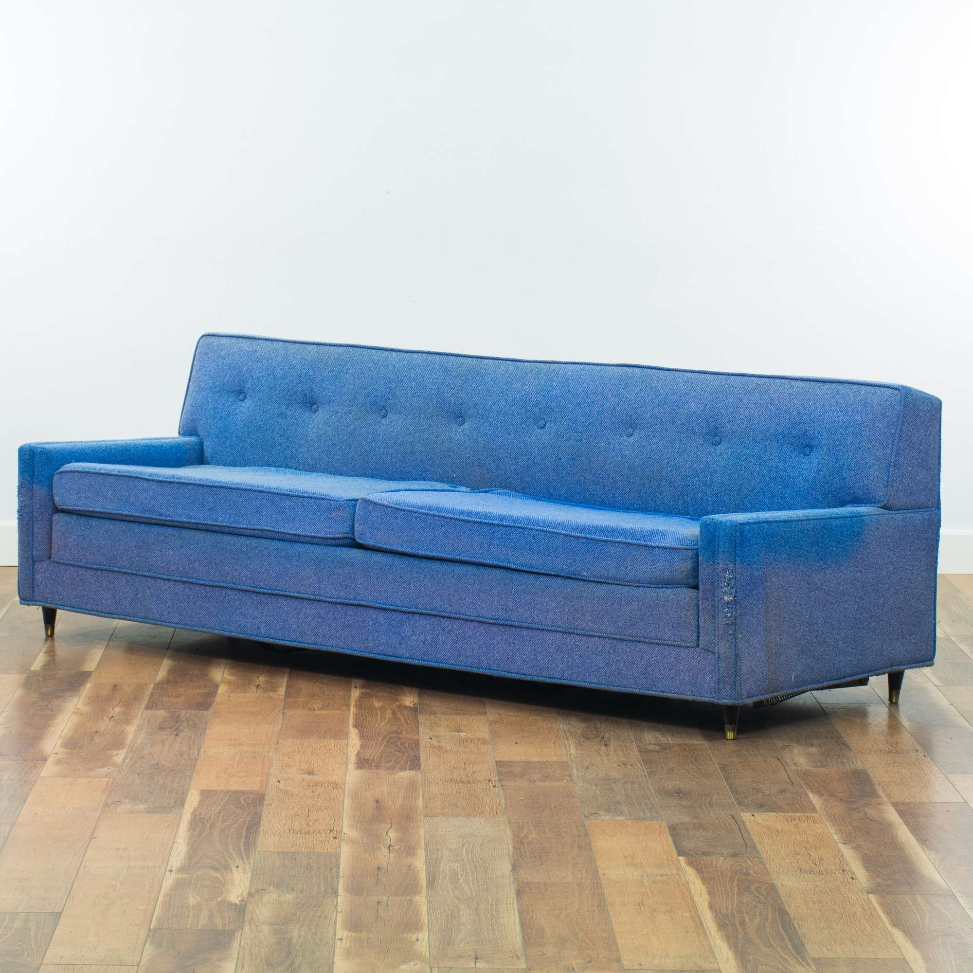 Seng Blue Mid Century Modern Sleeper Sofa Loveseat Vintage