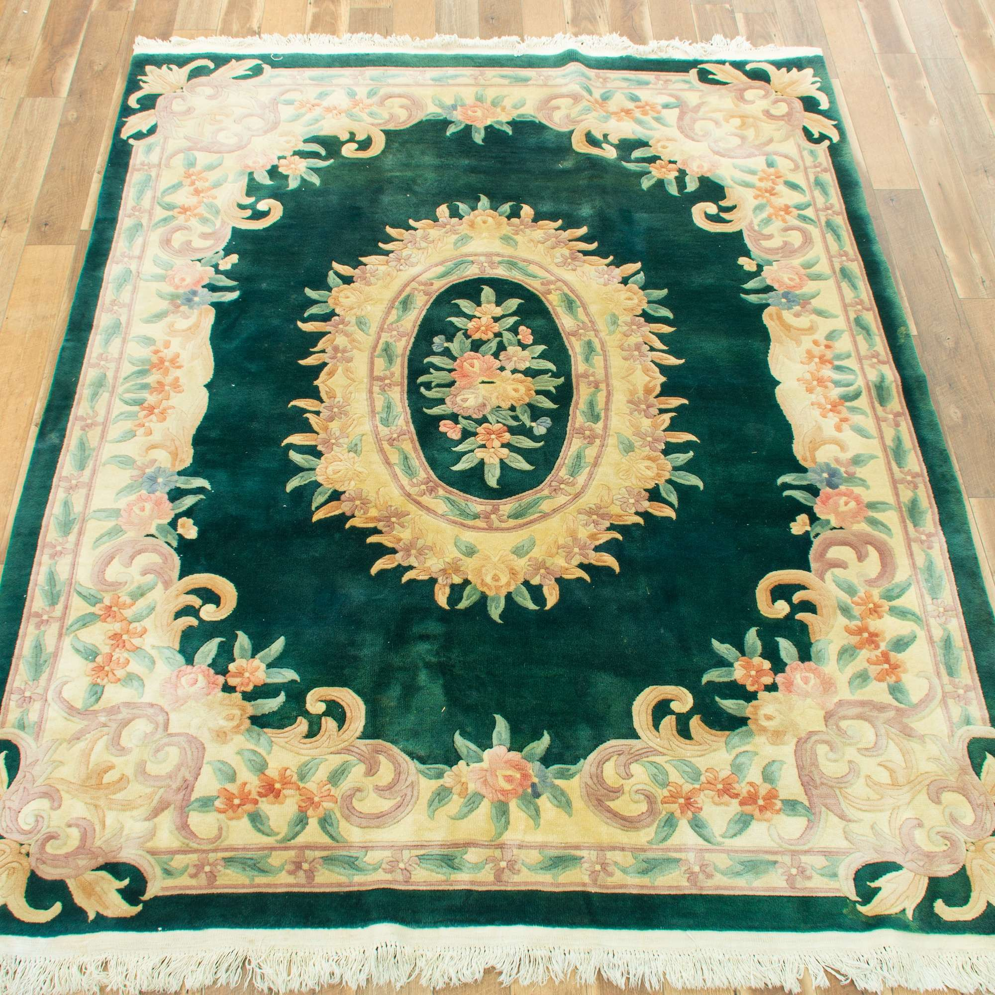 Hand Tied Emerald Green Floral Area Rug Loveseat Vintage