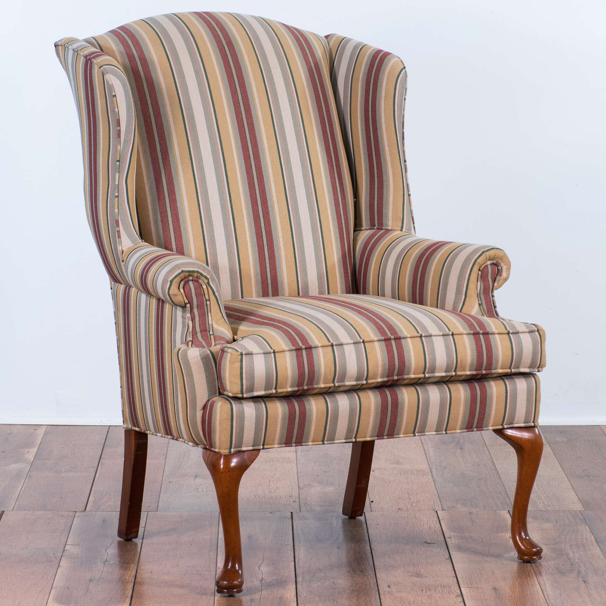 Maroon Striped Upholstery Wingback Armchair Loveseat Vintage