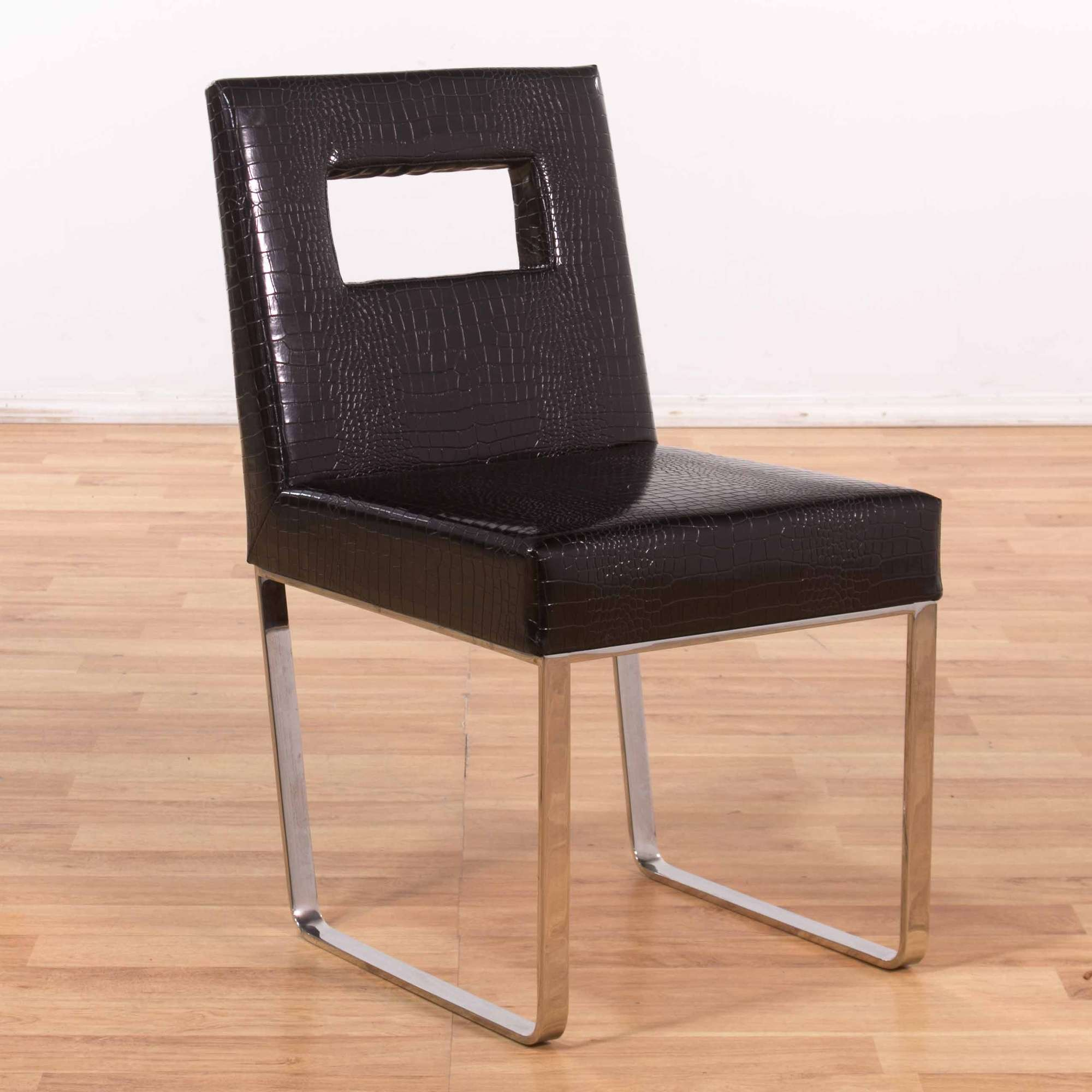 Terrific Modern Black Faux Alligator Skin Leather Accent Chair Andrewgaddart Wooden Chair Designs For Living Room Andrewgaddartcom