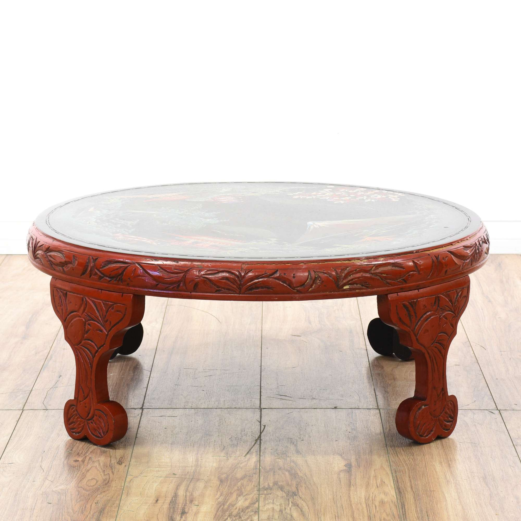 Round Asian Style Hand Painted Coffee Table