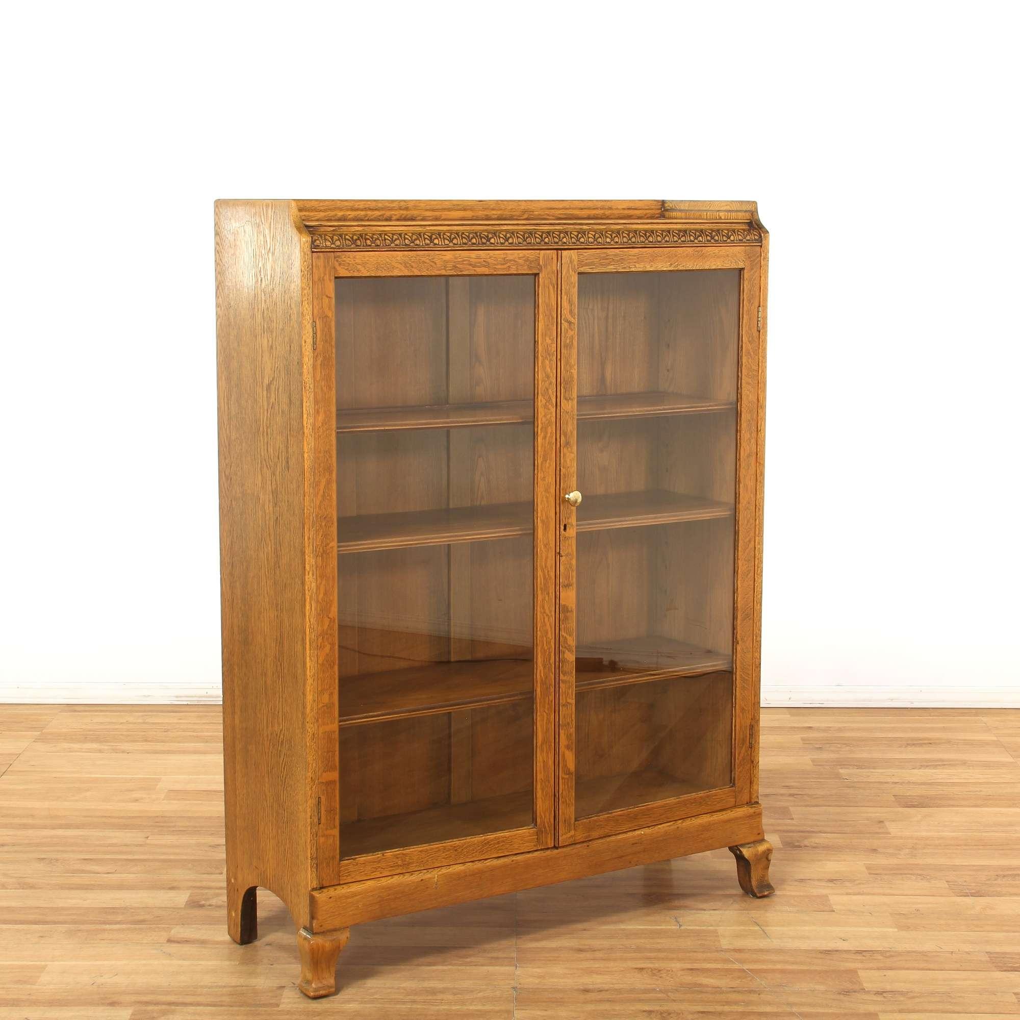 Oak Carved Bookshelf W Gl Doors Loveseat Vintage