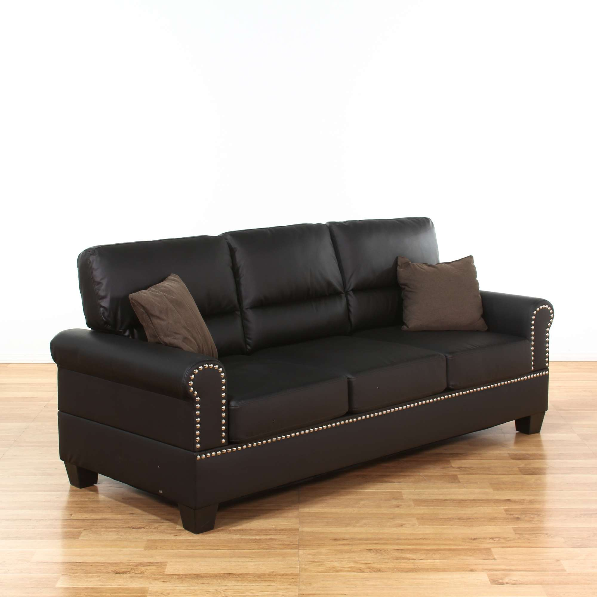 Boyster Black Faux Leather Sofa W