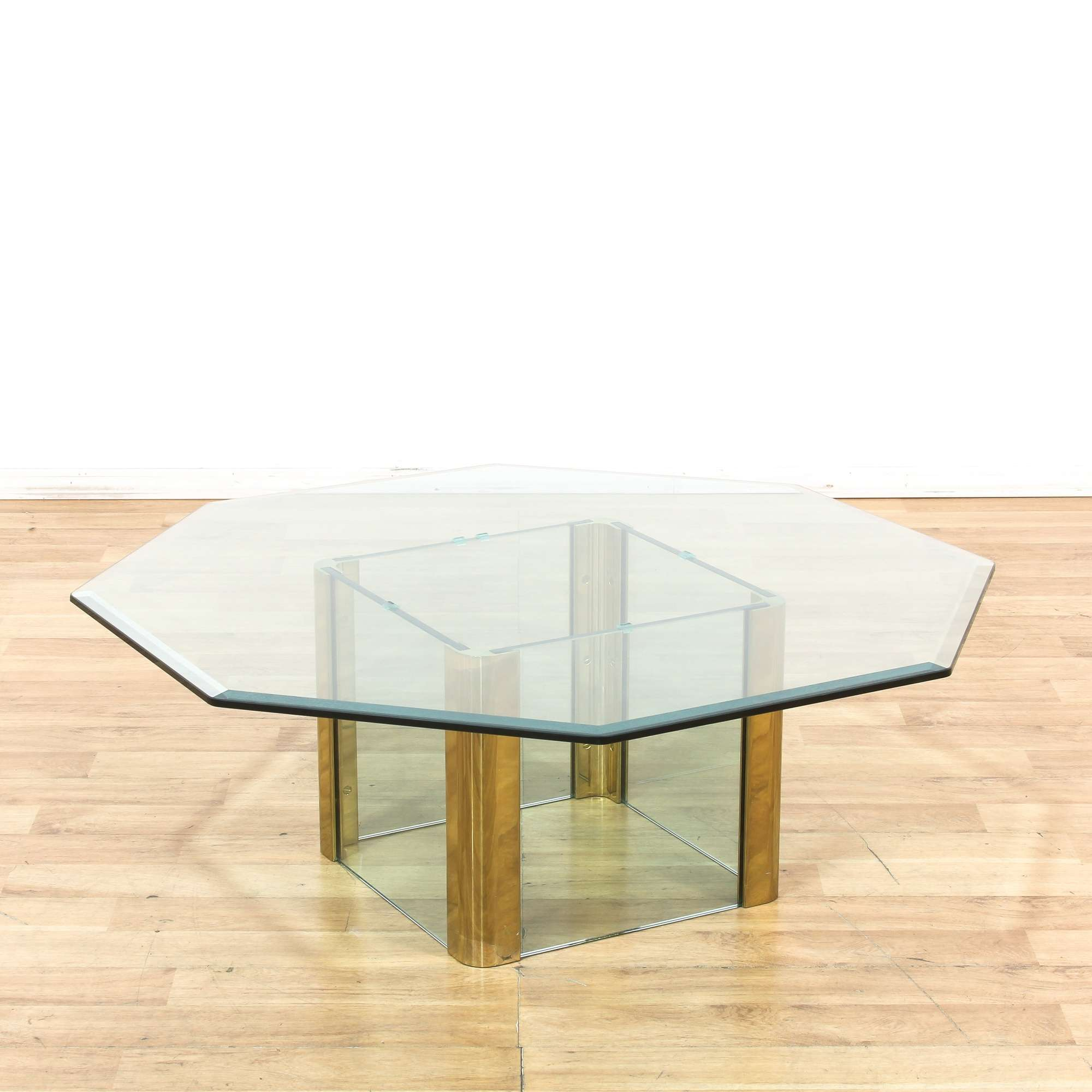 Octagonal Brass Glass Hollywood Regency Coffee Table - Loveseat Vintage