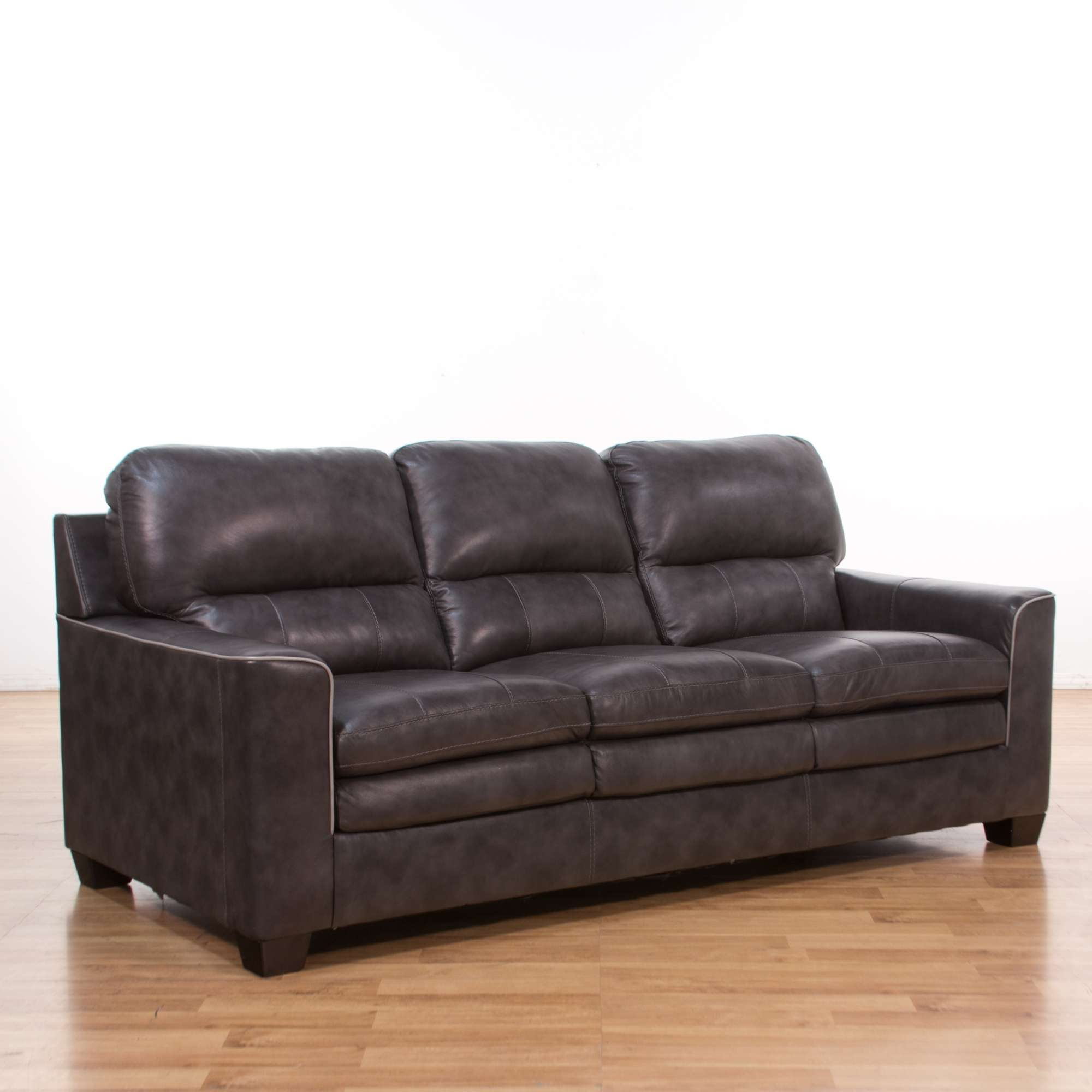 Modern Grey Leather Sofa W/ Piping Detail | Loveseat Vintage ...