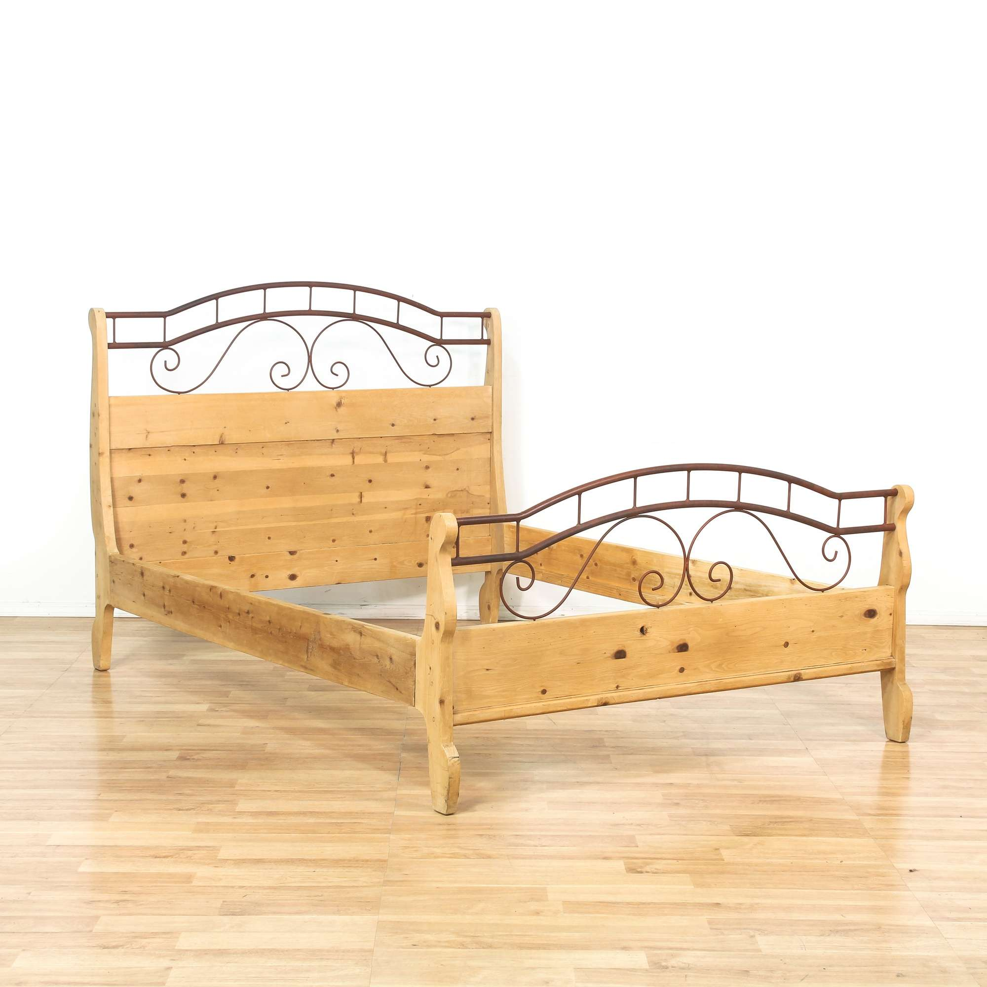 Rustic Wood & Scrolled Metal Queen Bed Frame | Loveseat Vintage ...
