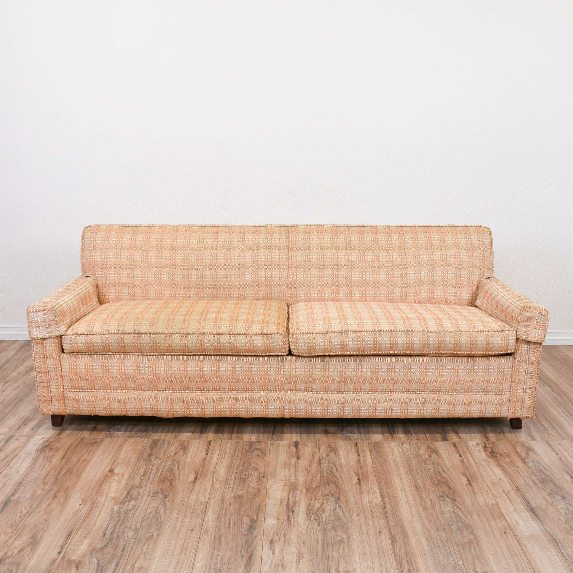 Superb Plaid Peach Mid Century Modern Sofa Bed Loveseat Vintage Pabps2019 Chair Design Images Pabps2019Com