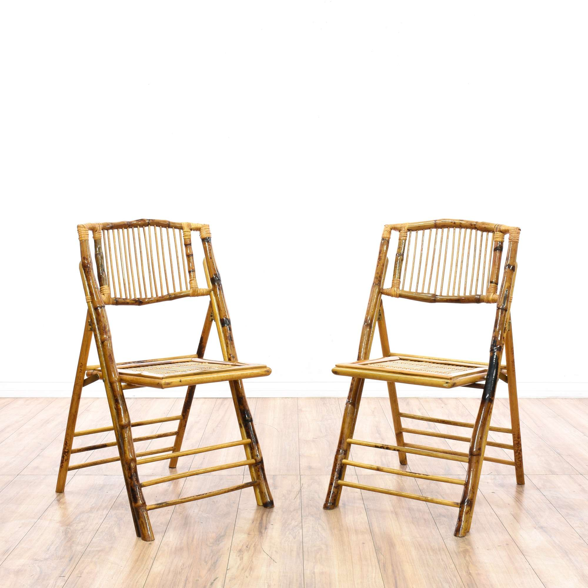 Pleasant Pair Of Bohemian Bamboo Folding Chairs Loveseat Vintage Caraccident5 Cool Chair Designs And Ideas Caraccident5Info