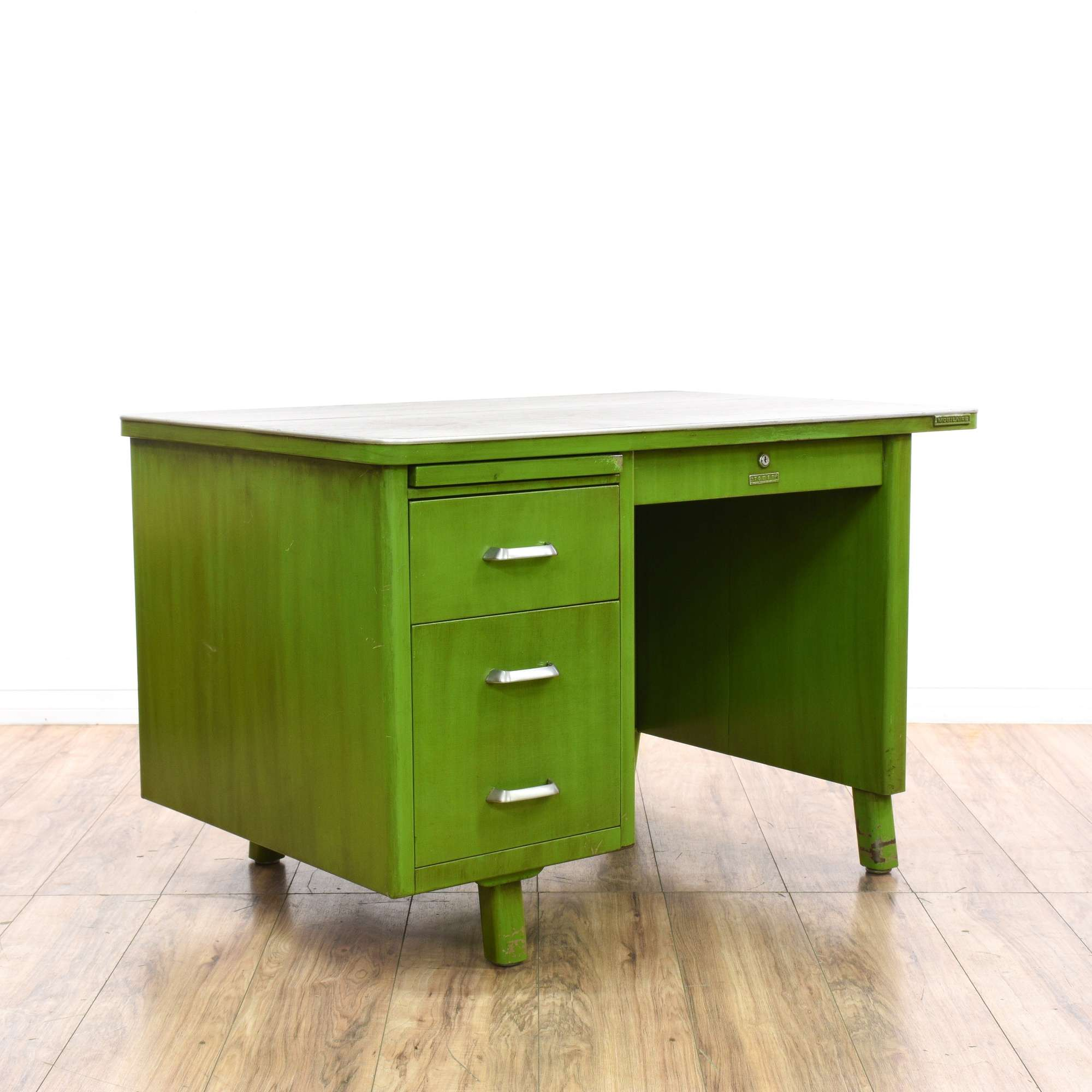 Sears Green Metal Tanker Desk Loveseat Vintage Furniture San Go
